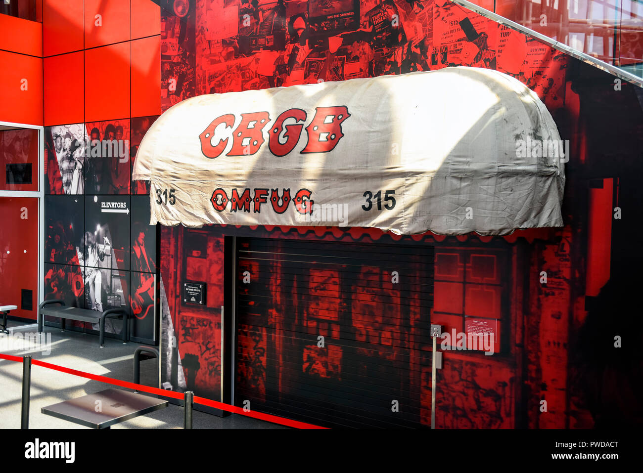 CBGB Awning in the Rock and Roll Hall of Fame. This awning hung over the front door from the late 1980's until it closed in 2006. - Stock Image