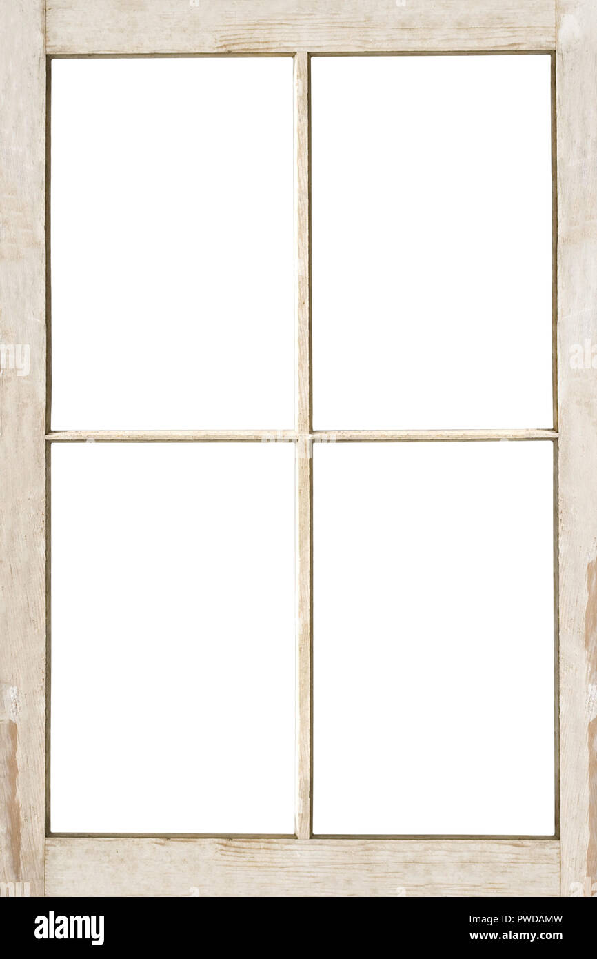 Old 4 Pane Residential Wooden Window Frame Isolated On White With
