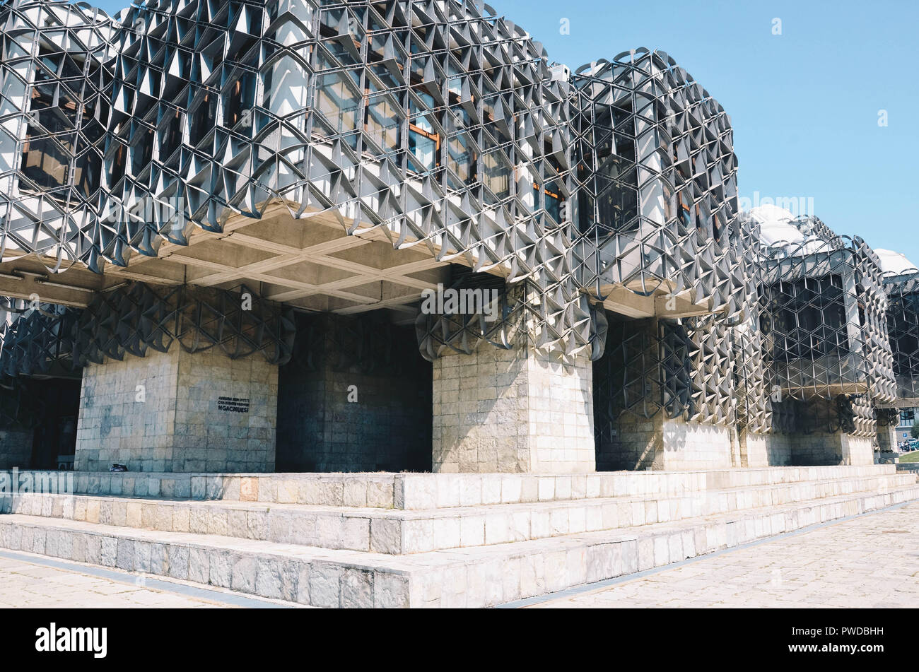 National Library of Kosovo (by Andrija Mutnjaković), Pristina, Kosovo, Balkans, September 2018 - Stock Image