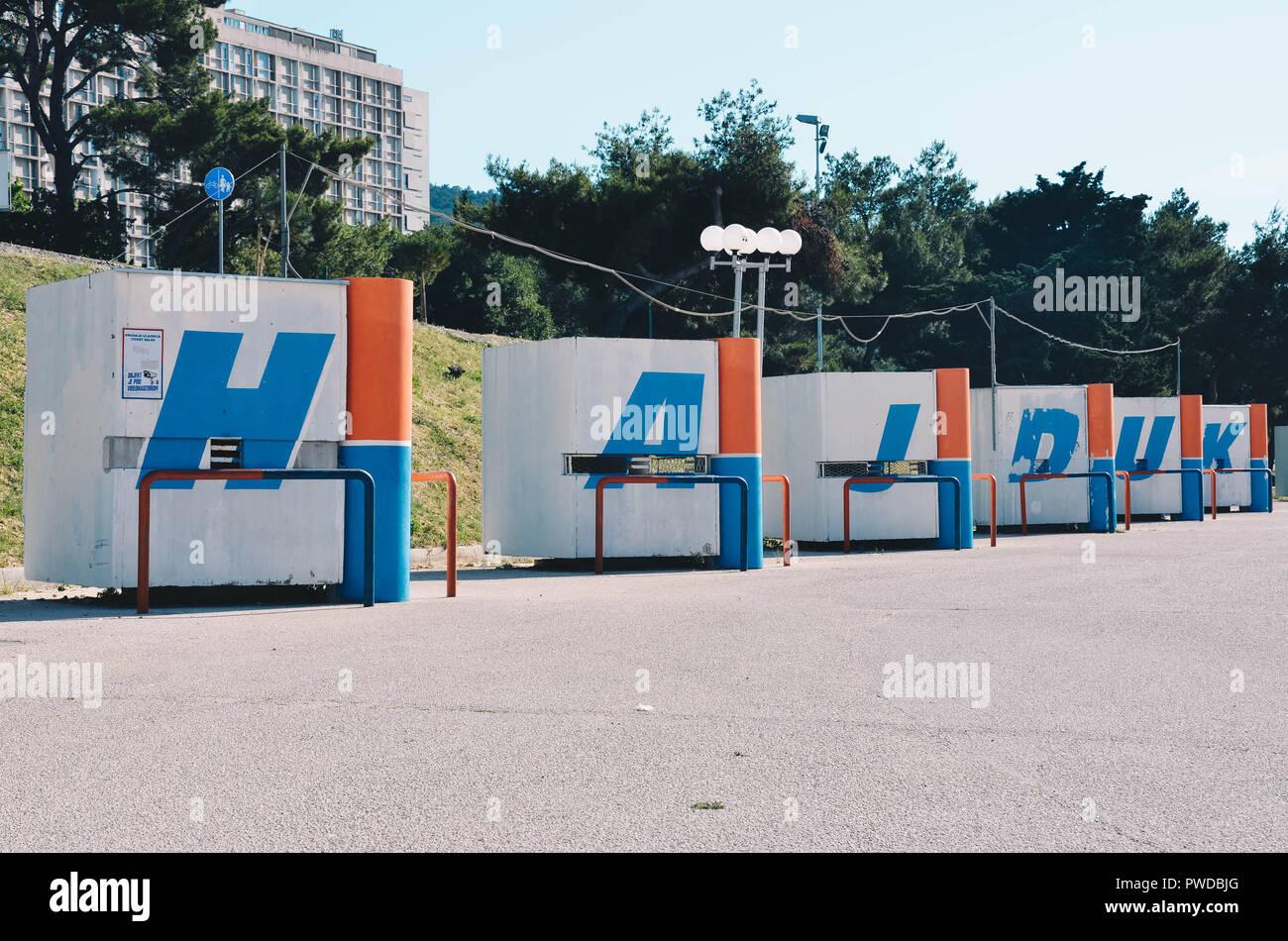 Hajduk sign, Poljud stadium, home of Hadjuk Split football club, Split, Croatia, September 2018 Stock Photo