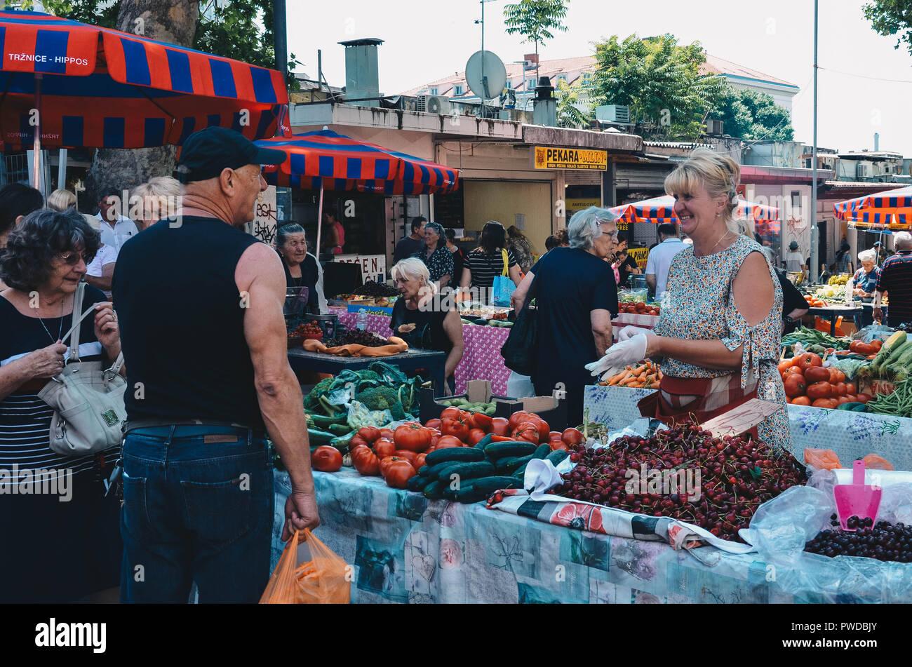 The outdoor market (Pazar), Split, Croatia, September 2018 Stock Photo