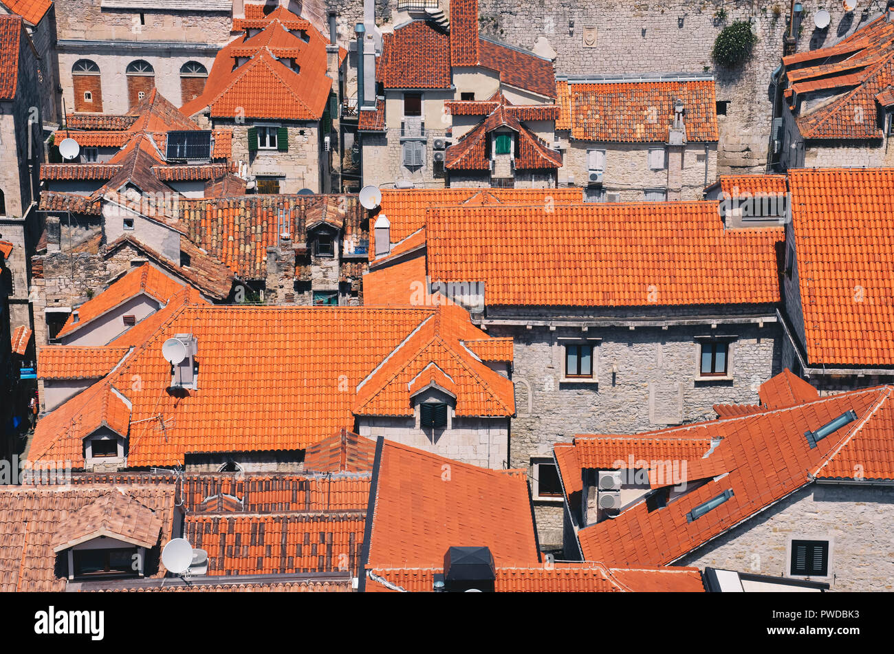 Red roofs of Split viewed from the Cathedral of Saint Domnius, Diocletian's Palace, Split, Croatia, September 2018 Stock Photo