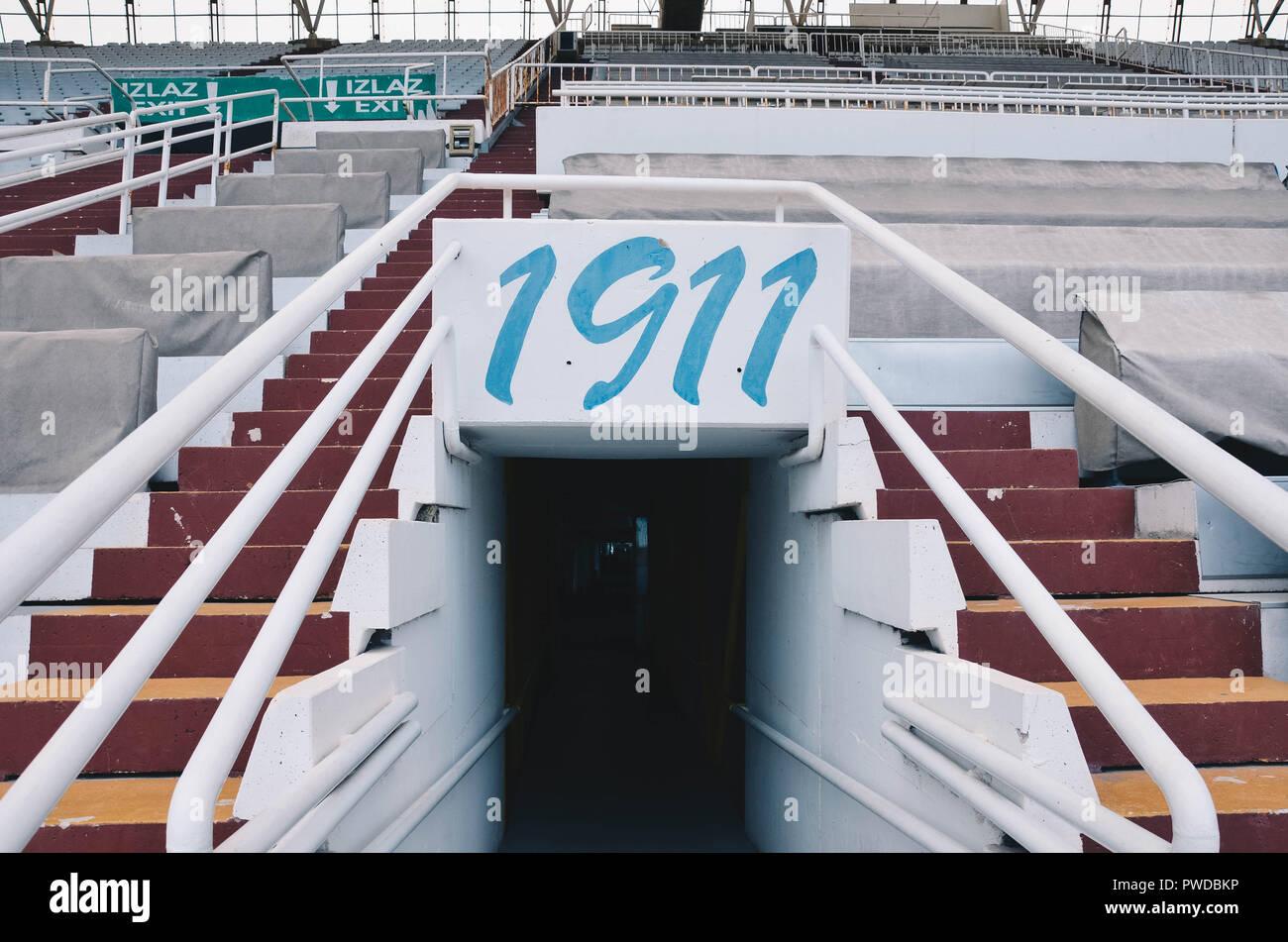 Inside the Poljud stadium, home of Hadjuk Split football club, Split, Croatia, September 2018 Stock Photo