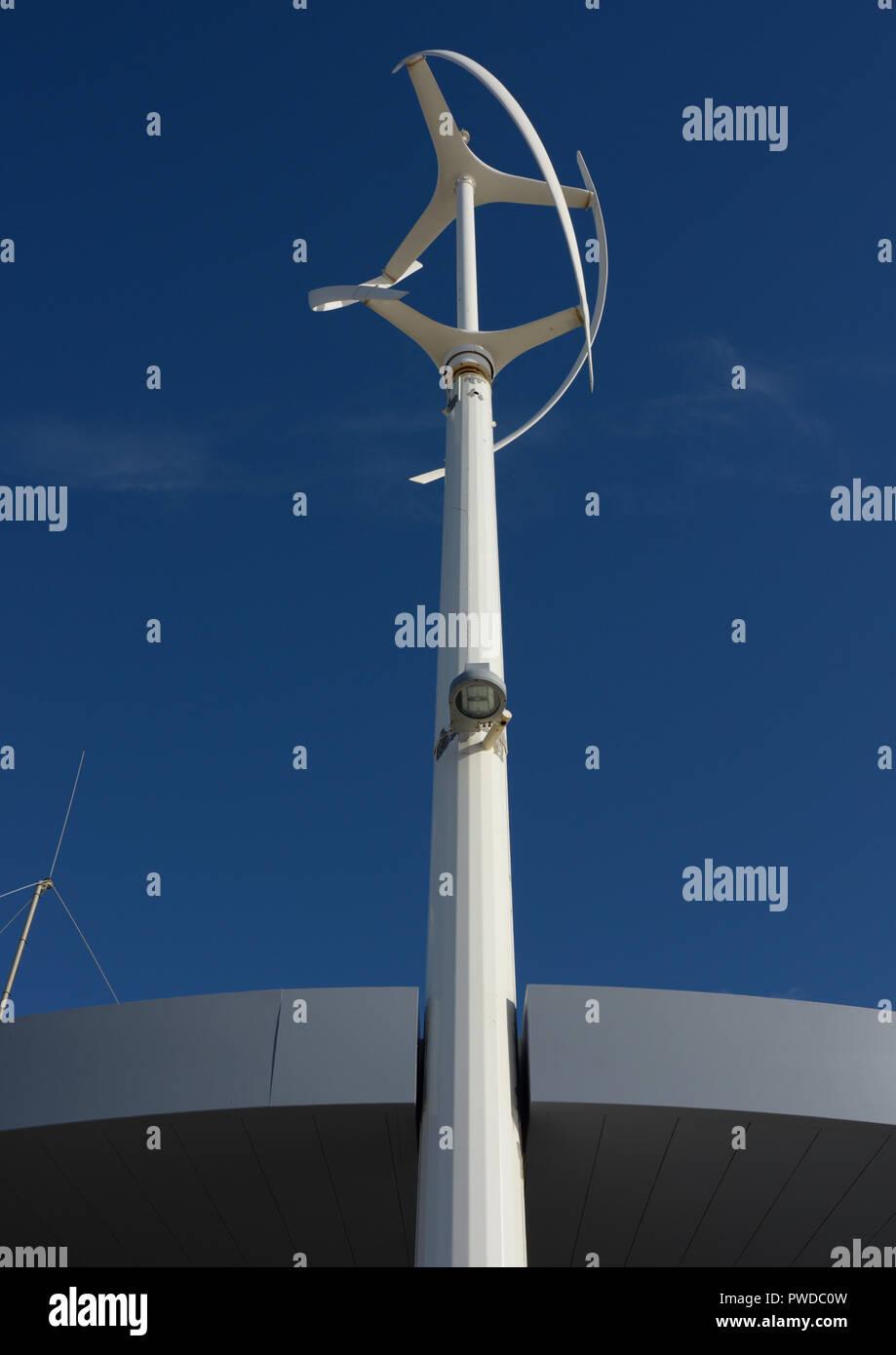 Vertical axis wind turbine in Cleveleys lancashire uk Stock Photo