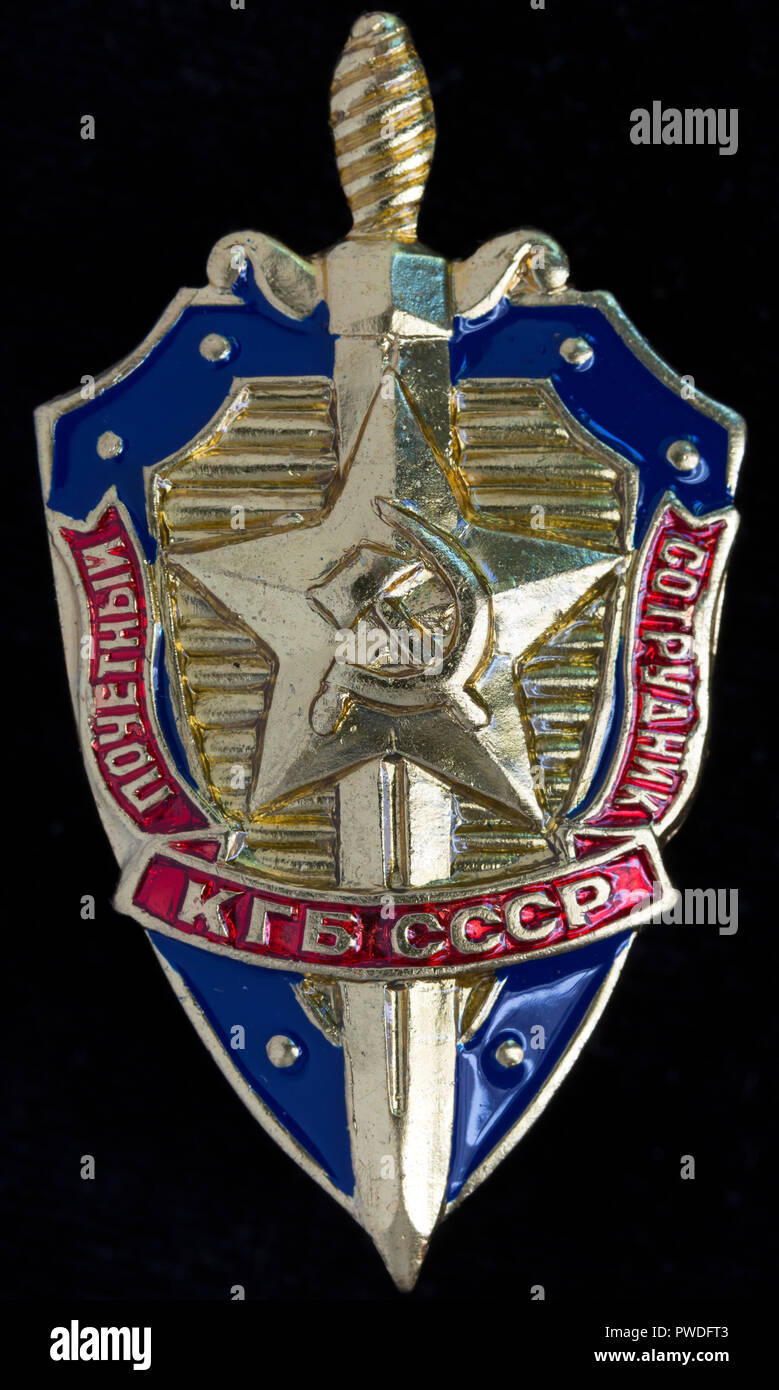 KGB honoured officer sign, Russia - Stock Image