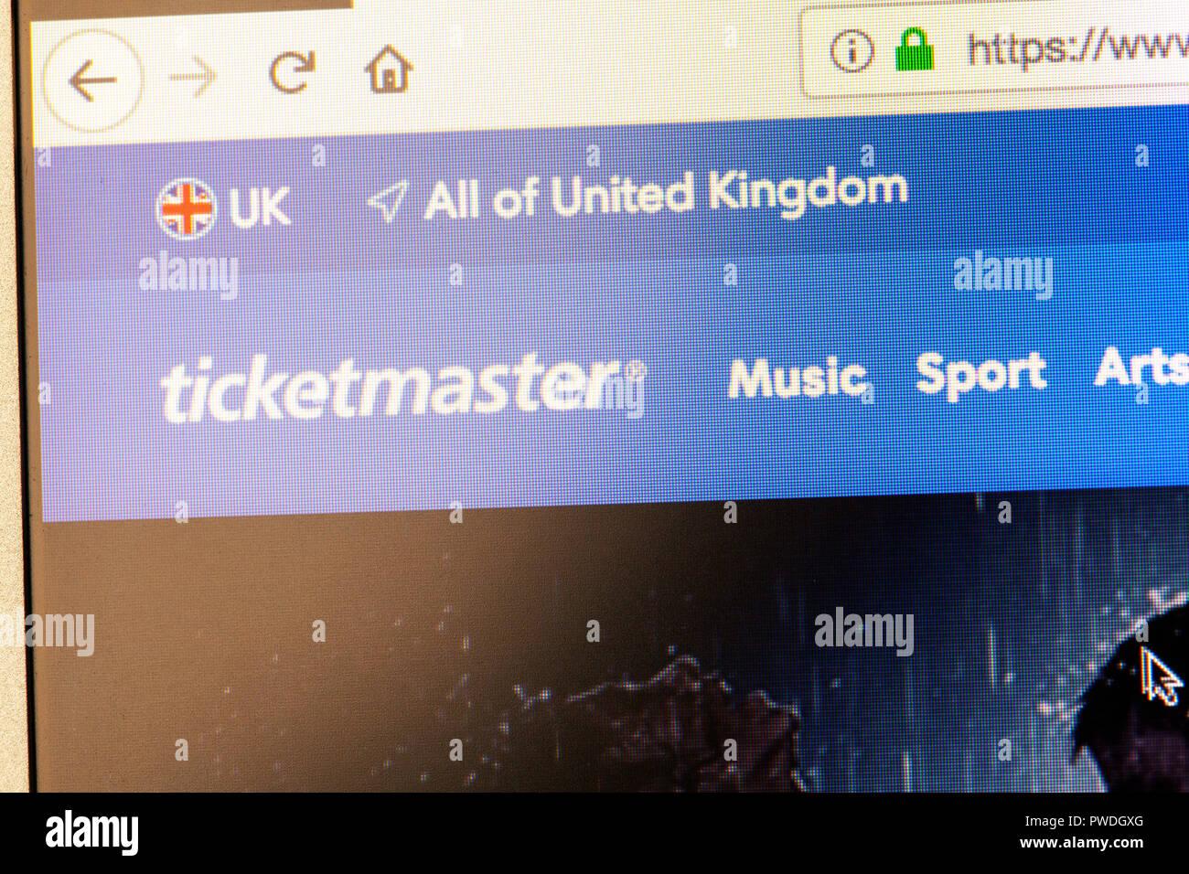 Ticketmaster concert ticket website, Ticketmaster tickets, Ticketmaster website, Ticketmaster homepage, Ticketmaster logo, Ticketmaster ticket website Stock Photo