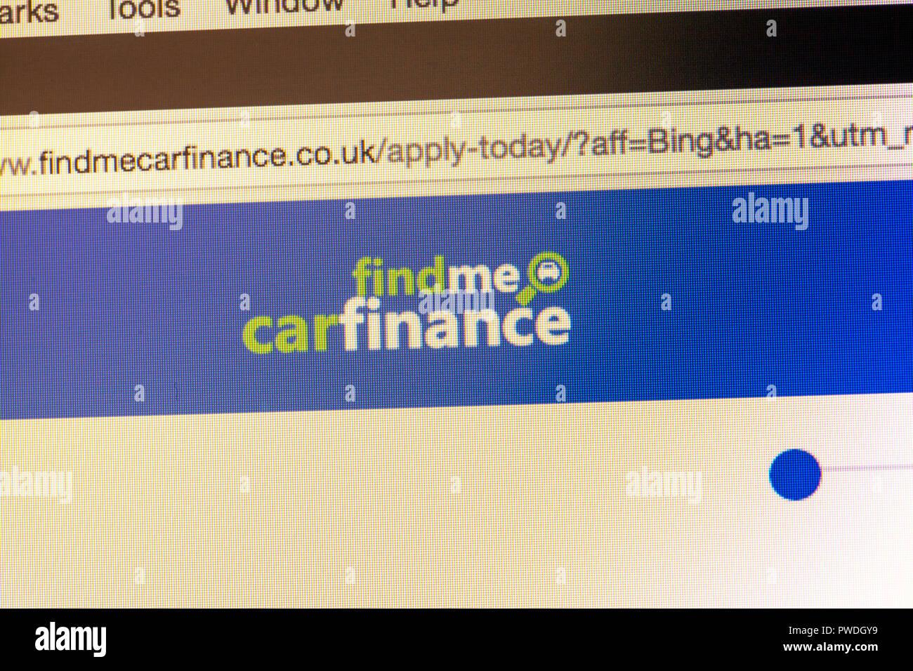 Find me car finance website, online car finance, car finance website, car HP website, car finance websites, borrow money online, car HP, car PCP, logo Stock Photo