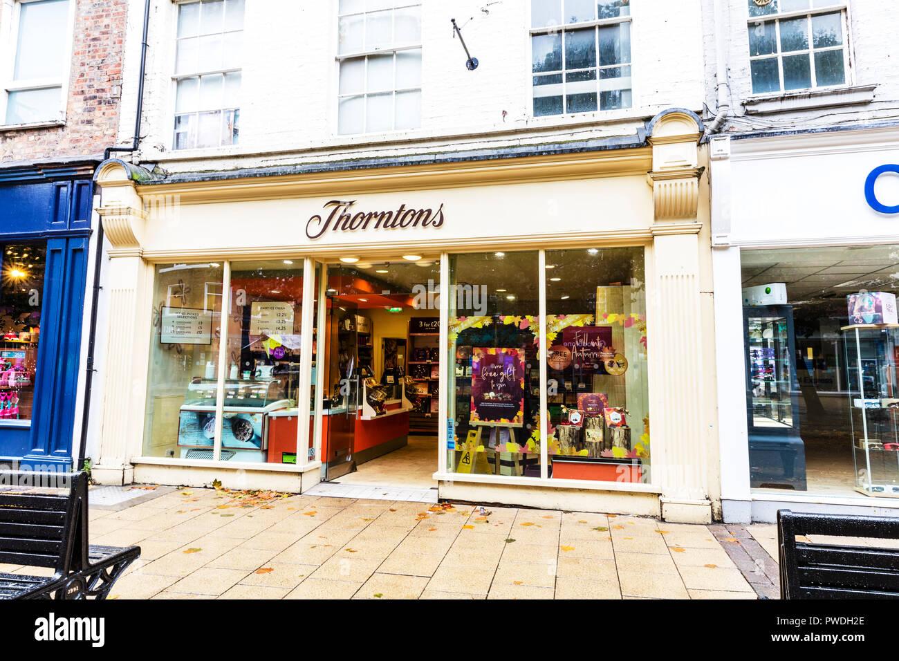 Thorntons Chocolate shop, Thorntons Chocolates, Thorntons Chocolate store, Thorntons Store, Thorntons sign, Thorntons, Chocolate, shop, store, UK - Stock Image