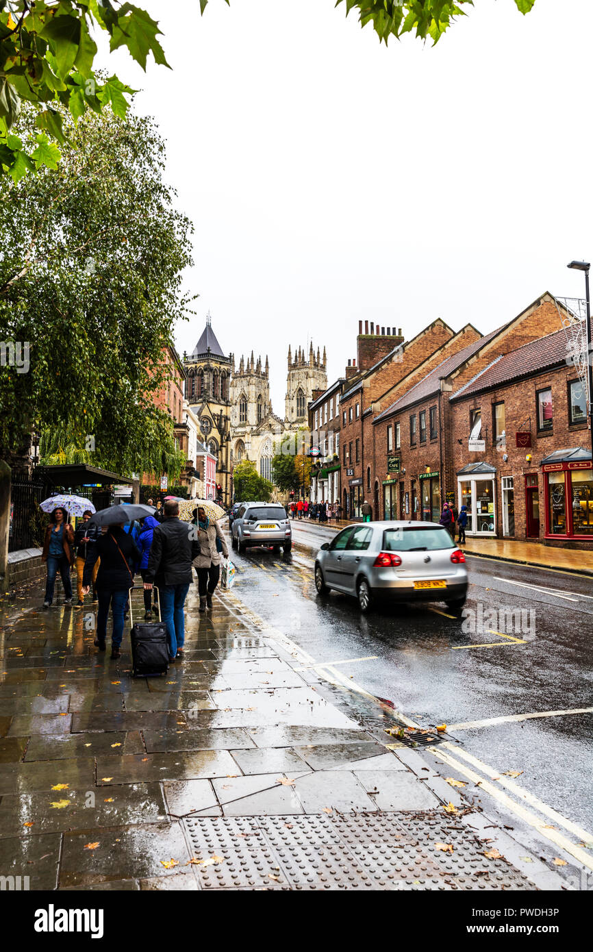 York City UK, York Minster UK, York Yorkshire UK, York road, York roads, York Minster, York raining, York street, York Streets, York Tourism, York UK - Stock Image