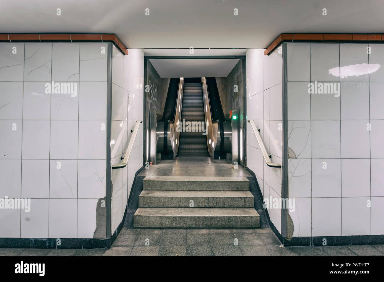 Berlin, Germany, October 10, 2018: Escalator at Underground Railway Station Stock Photo