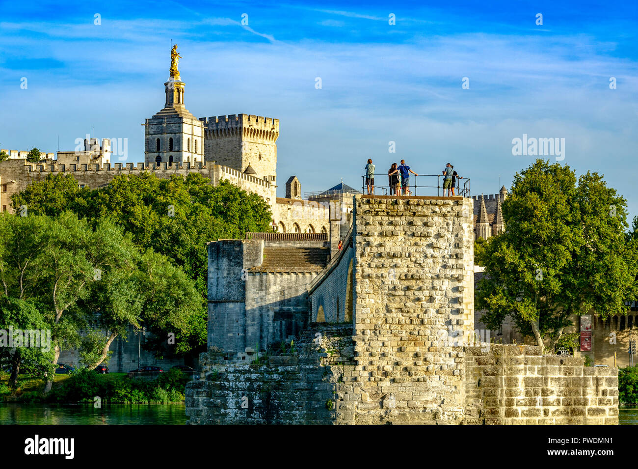 France. Vaucluse (84). Avignon. Pont Saint-Bénézet, commonly called Pont d'Avignon, built from 1177 to 1185 on the Rhone. Stock Photo