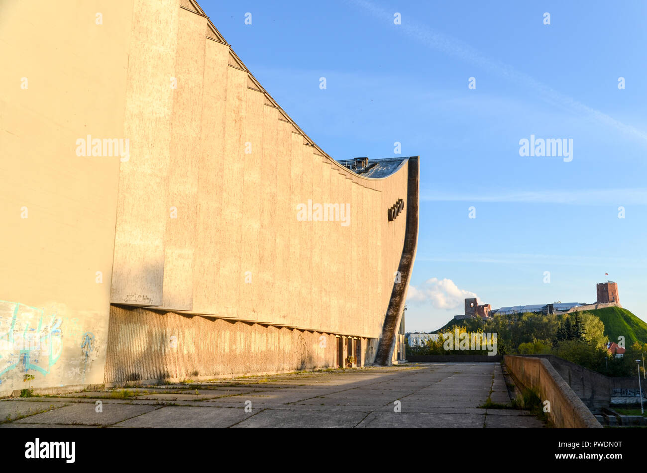 Vilnius Palace of Concerts and Sports, a large disused building by the Neris river Stock Photo