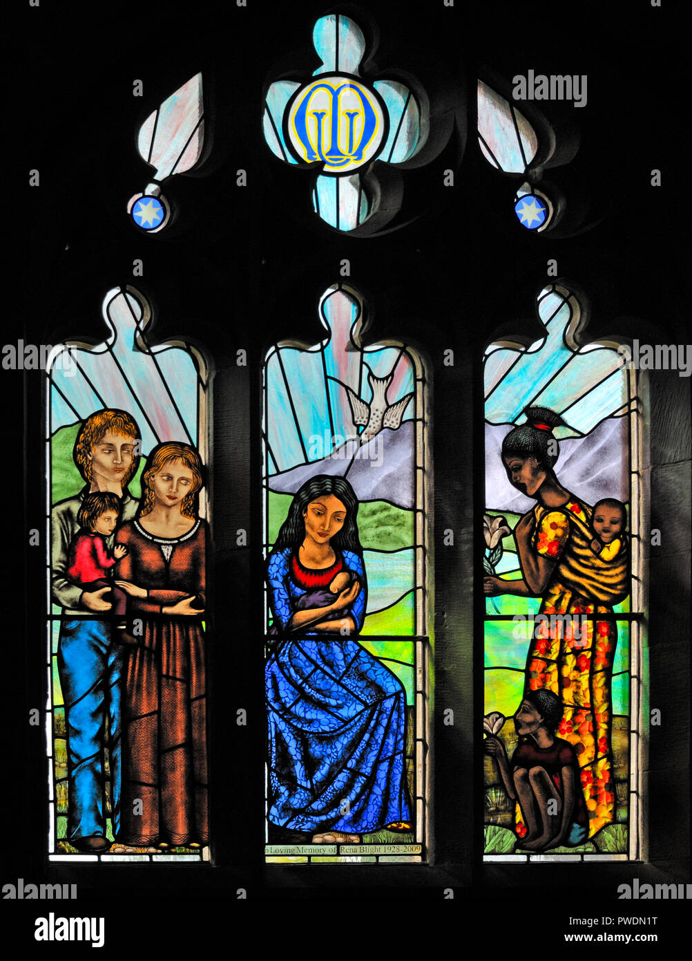 'Motherhood' window by Sarah Sutton, 2009. Church of Saint Mark. Natland, Cumbria, England, United Kingdom, Europe. - Stock Image
