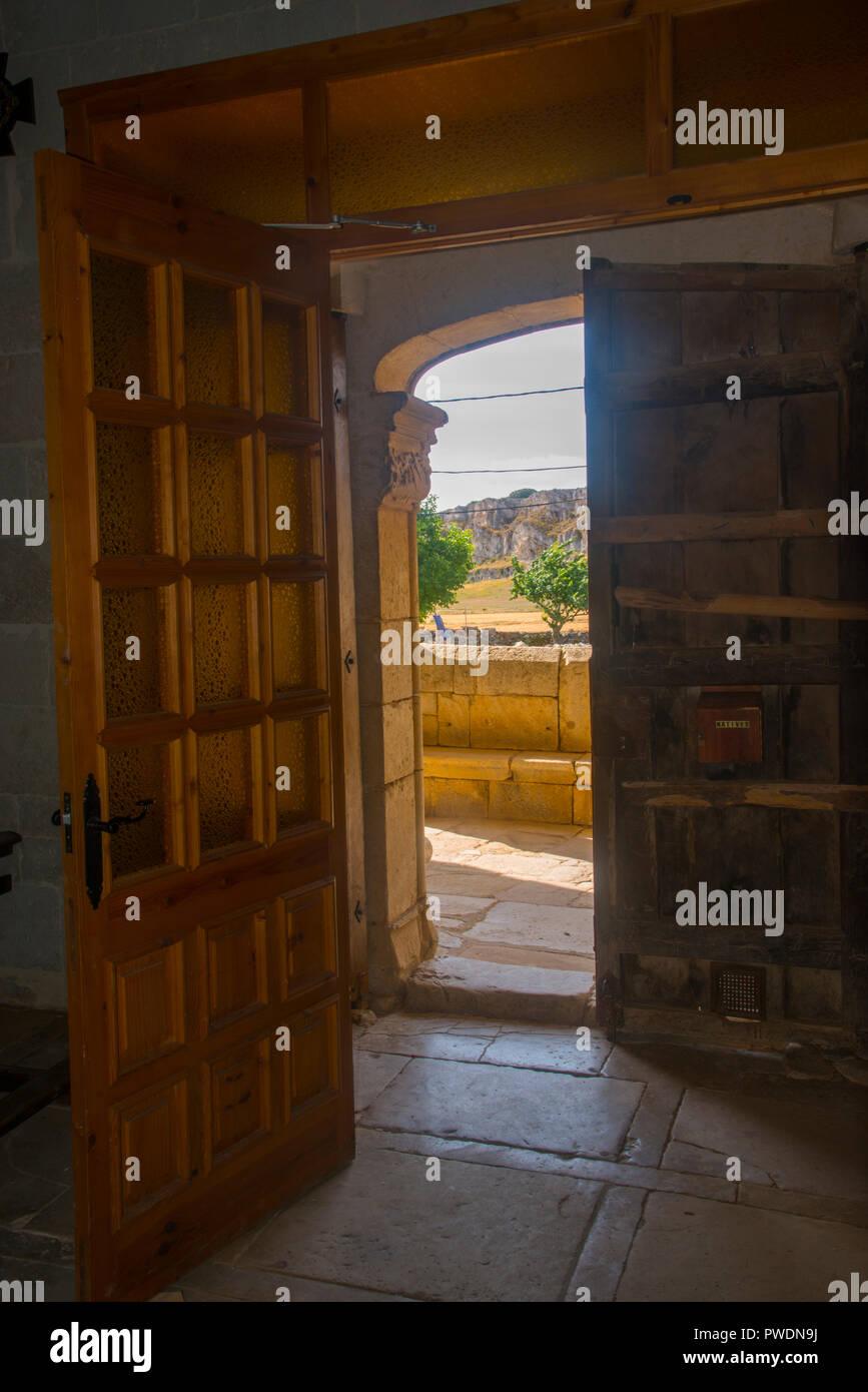 View from inside the church. Traspeña de la Peña, Palencia province, Castilla Leon, Spain. - Stock Image