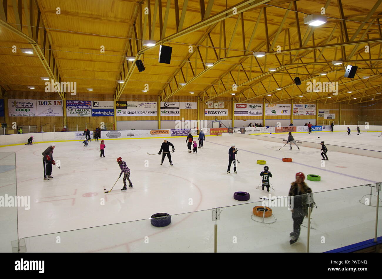 Ice Hockey training with children in a Hockey Arena in a small town of Björbo in Dalarna. 14.10.2018 - Stock Image