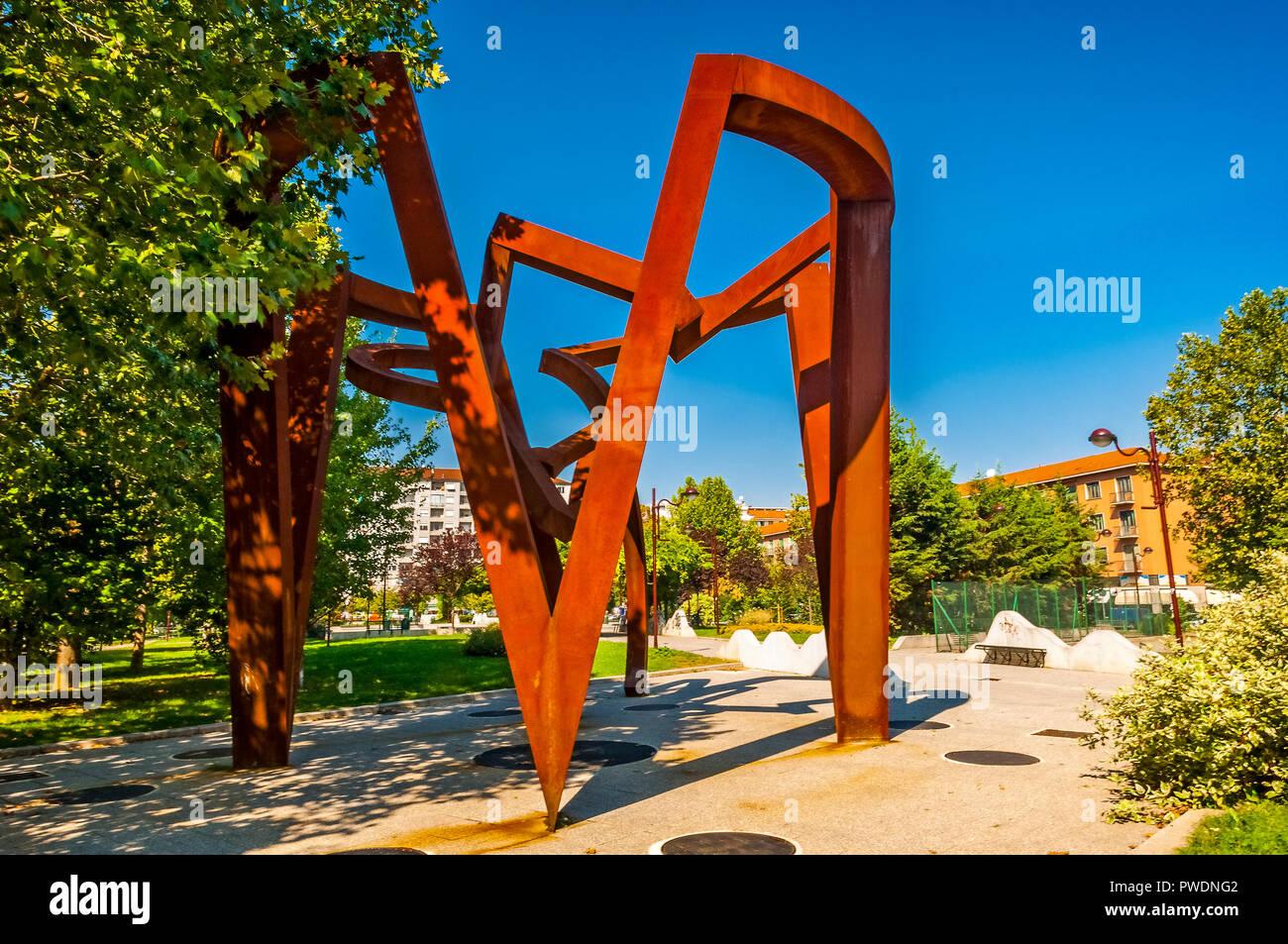Italy Piedmont Turin Piazza Galimberti Modern Art Works in Outside Artist Riccardi Cordero'Chakra'2005 - Stock Image