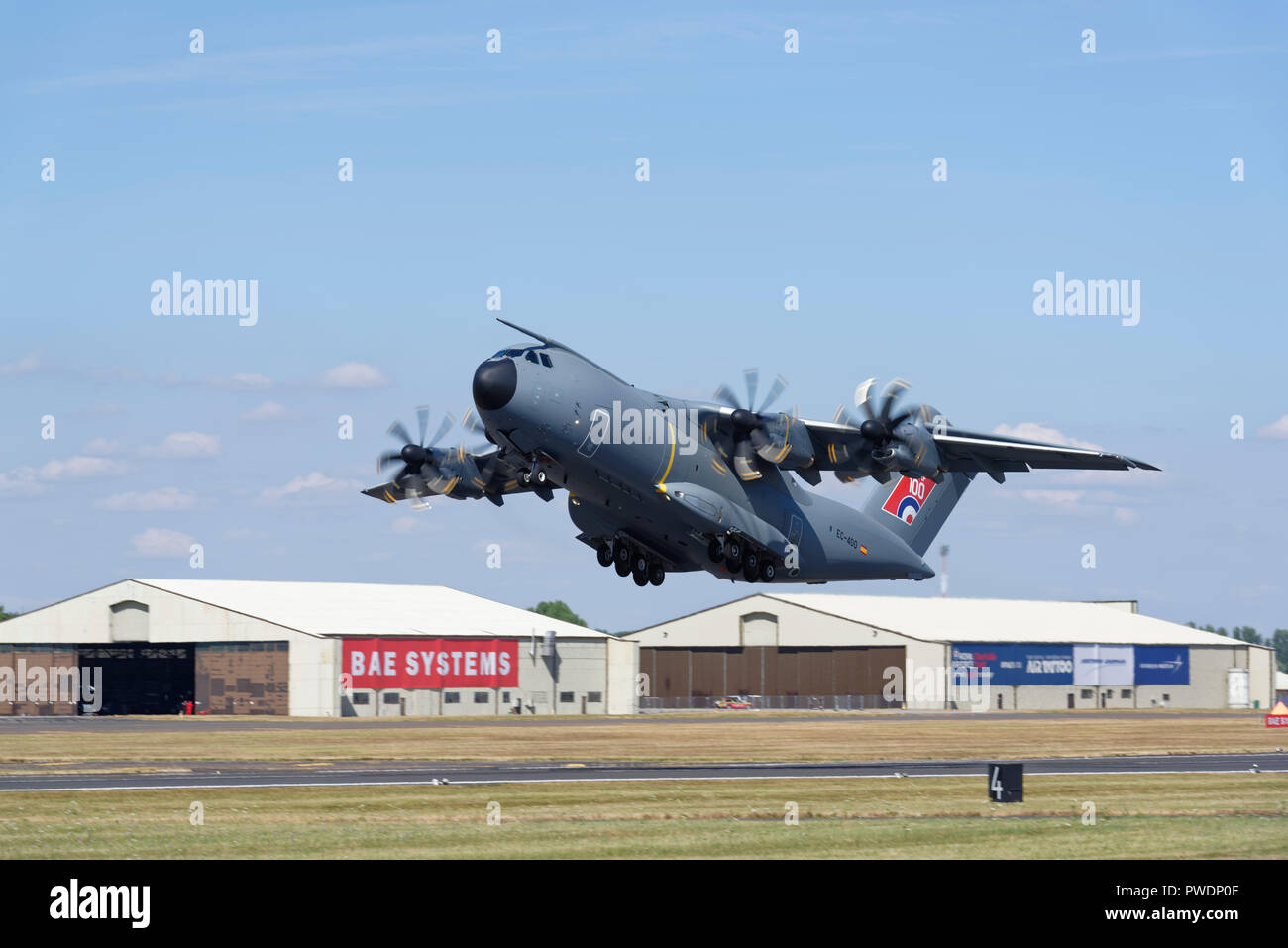 Airbus Defence and Space A400M Atlas Tactical Airlifter takes off to demonstrate at the Royal International Air Tattoo. - Stock Image