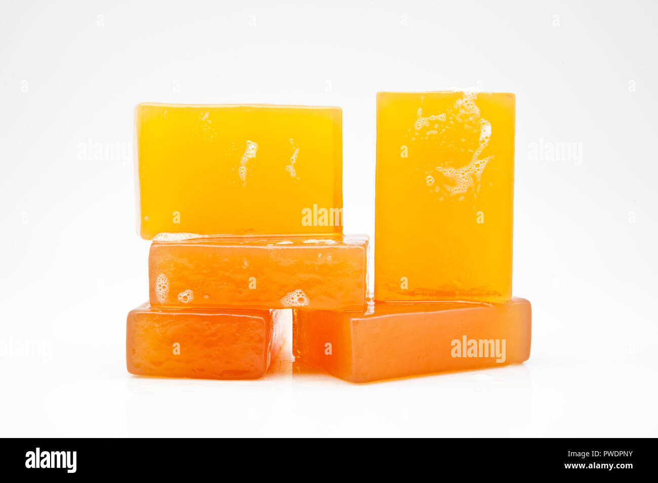 five bars of glycerin soap - Stock Image