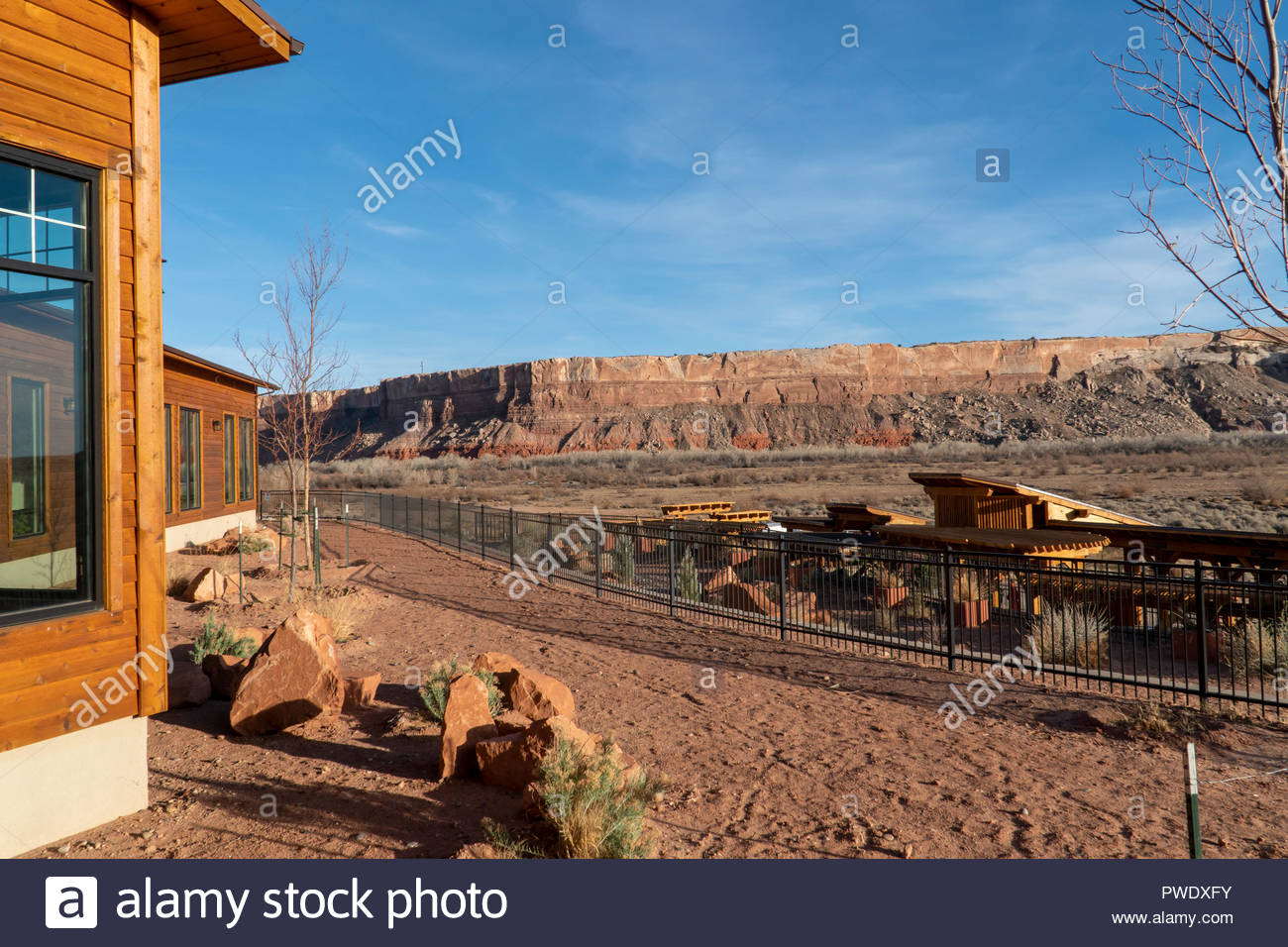 View of the surrounding mesas and grounds at the Desert Rose Inn in Bluff, Utah USA Stock Photo