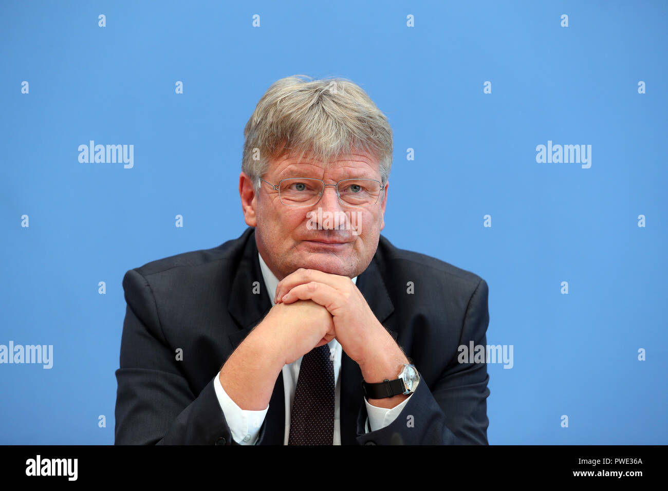 15 October 2018, Berlin: 15 October 2018, Germany, Berlin: Joerg Meuthen, party chairman of the AfD, answers questions on the results of the state elections in Bavaria on the podium of the federal press conference. Photo: Jens Büttner/dpa-Zentralbild/dpa - Stock Image