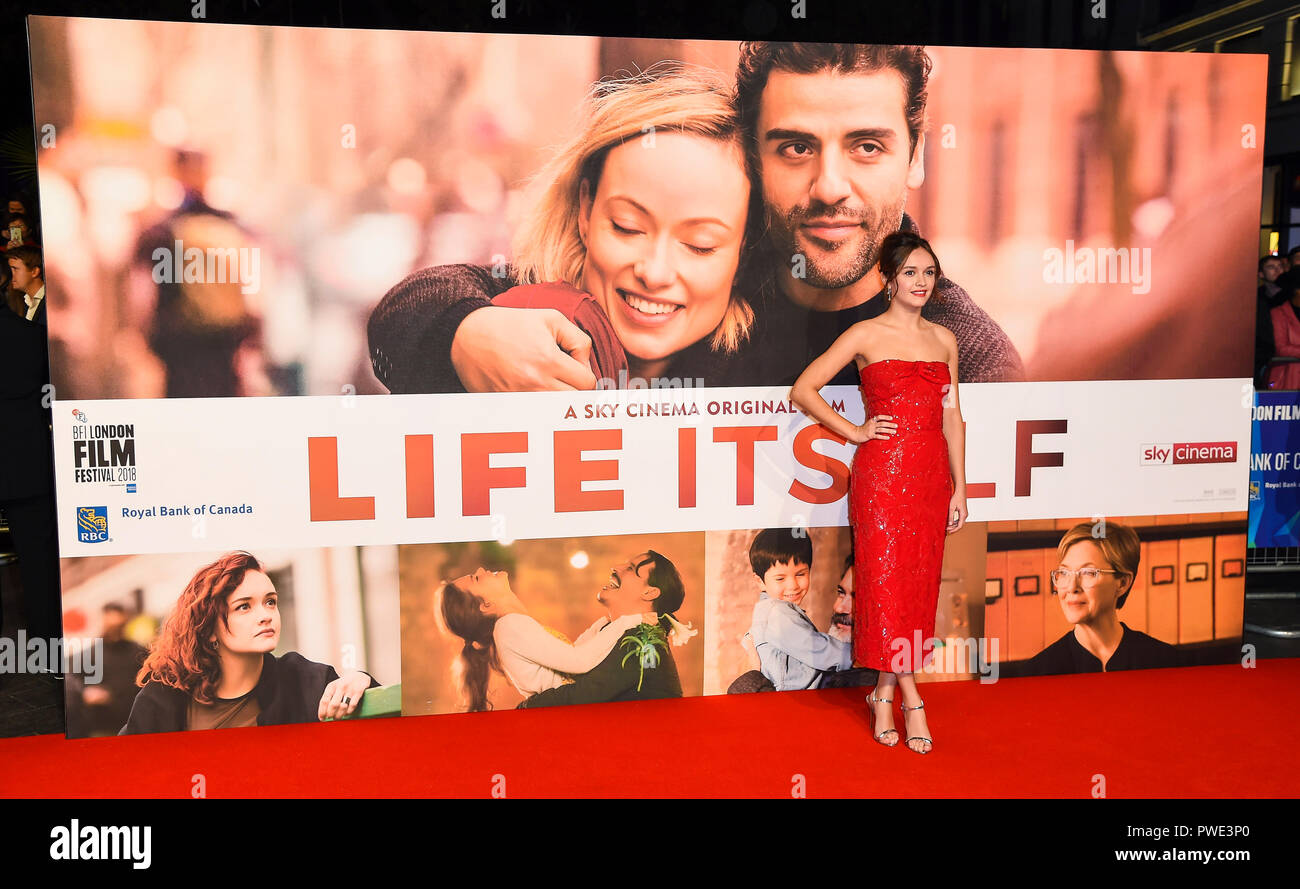 London, UK. 15th Oct 2018. Olivia Cooke attends the European Premiere of 'Life Itself' & Royal Bank of Canada Gala during the 62nd BFI London Film Festival on 15 October 2018 London, UK Credit: Gary Mitchell, GMP Media/Alamy Live News Stock Photo