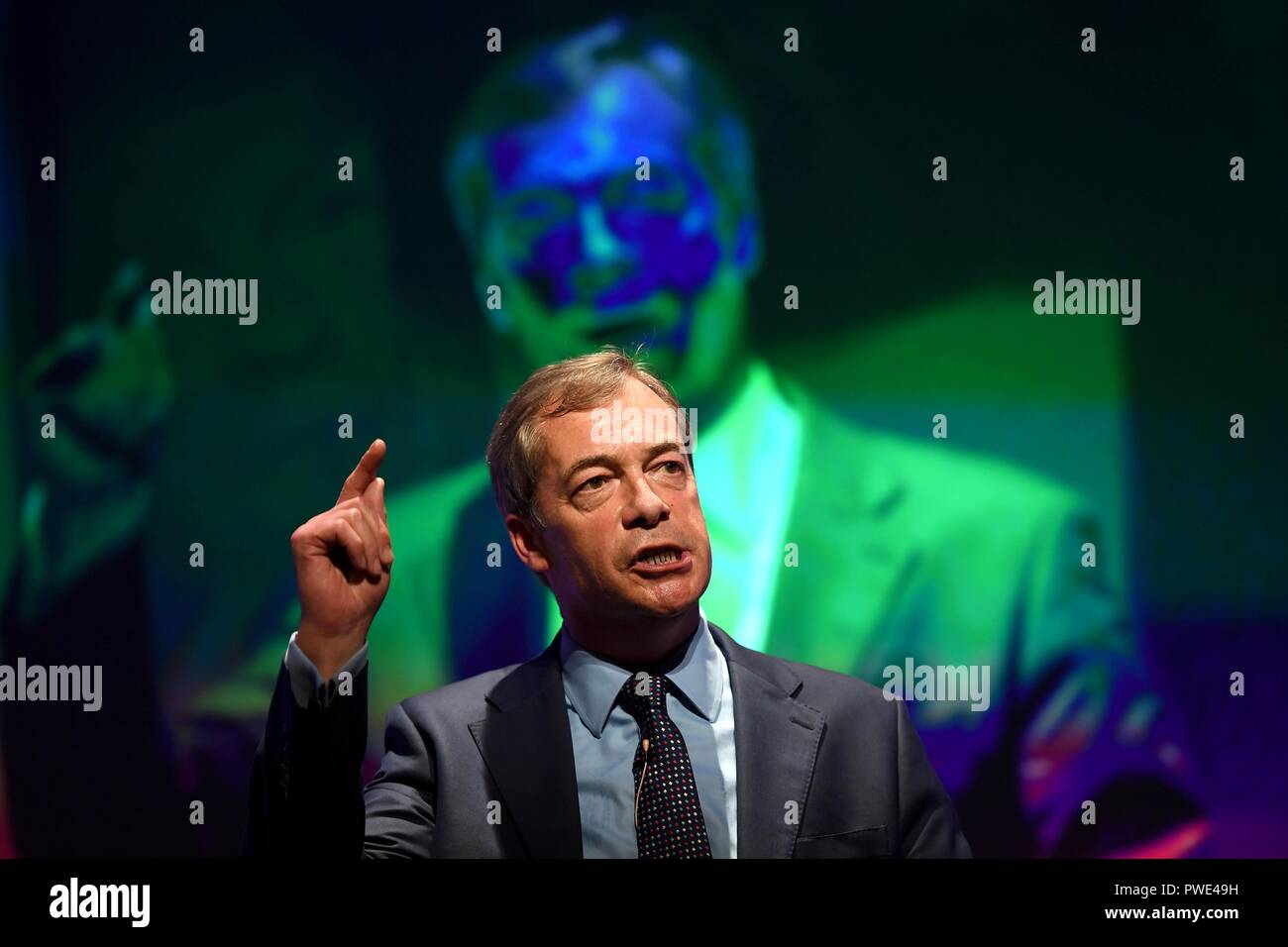 Bournemouth, UK. 15th Oct 2018. Nigel Farage MEP gives his speech at the Leave Means Leave rally to save Brexit at Bournemouth International Centre, (BIC), Dorset, UK Credit: Finnbarr Webster/Alamy Live News - Stock Image