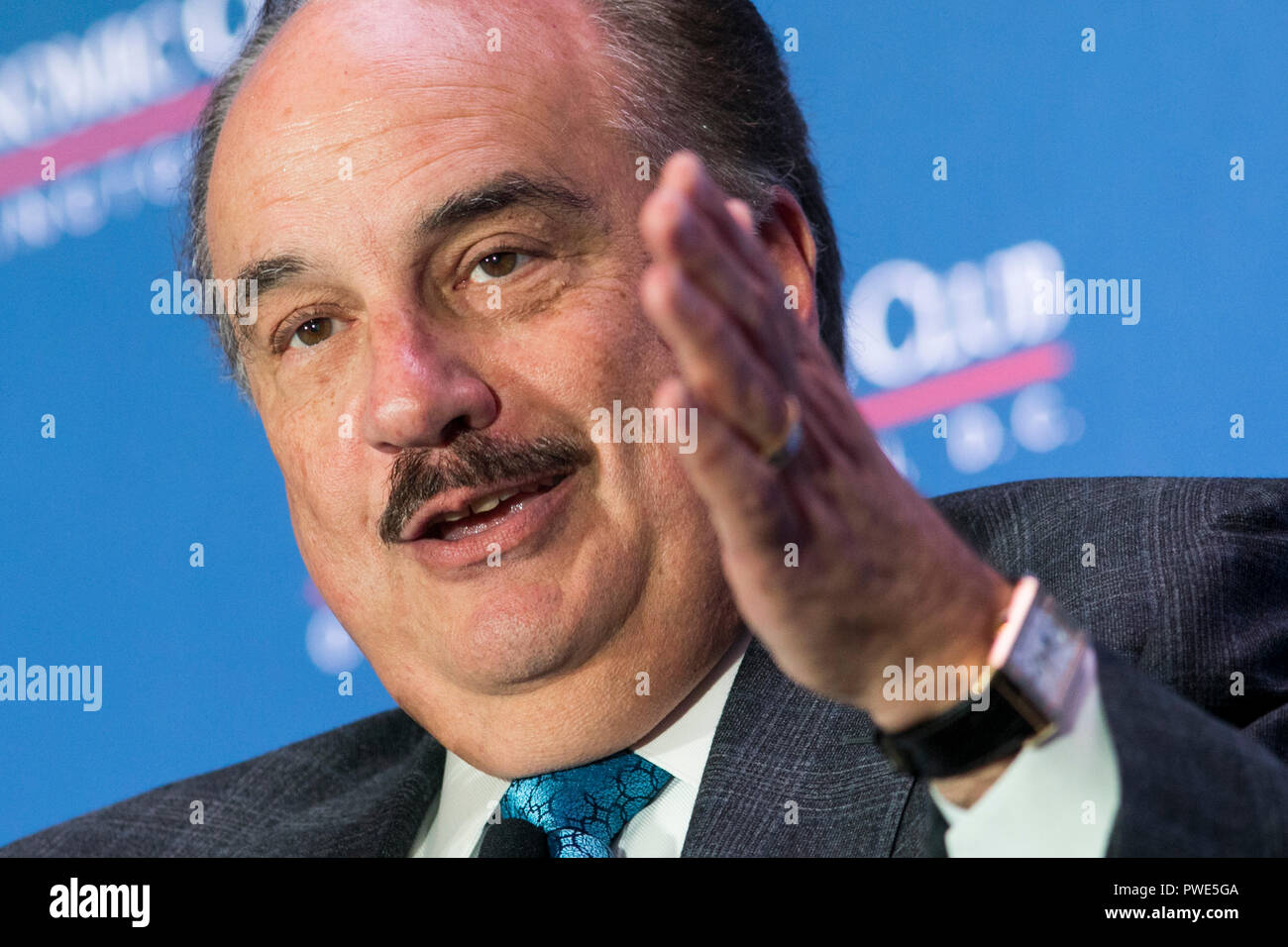 Washington DC, USA. 15th Oct 2018. Larry Merlo, President and CEO of CVS Health, participates in an interview during an Economic Club of Washington event in Washington, D.C., on October 15, 2018. Credit: Kristoffer Tripplaar/Alamy Live News Stock Photo