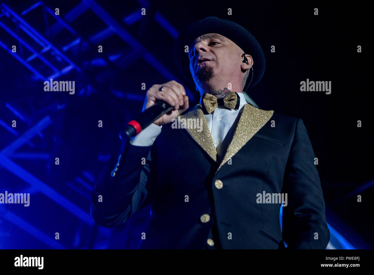 Milan, Italy. 15th Oct 2018. J-Ax performs live at Fabrique in Milano, Italy, on October 15, 2018, for the first of ten sold-out concert Credit: Mairo Cinquetti/Alamy Live News - Stock Image