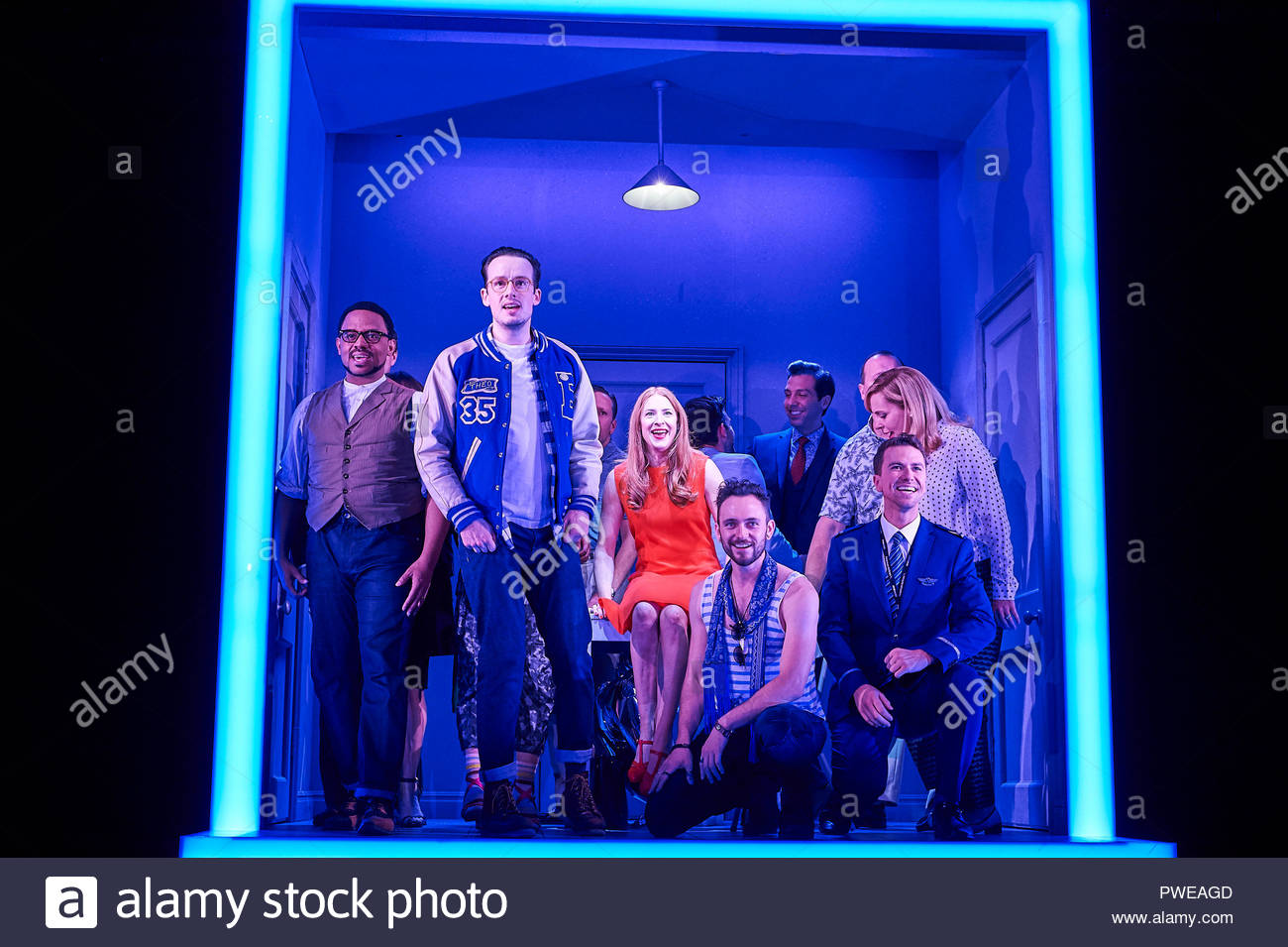London, UK, 16th Oct 2018. Company, a Musical Comedy, Music and Lyrics by Stephen Sondheim, book by George Furth. Directed by Marianne Elliott. With Rosalie Craig as Bobbie[RED DRESS]. Opens at The Gielgud Theatre on 17/10/18. CREDIT Geraint Lewis EDITORIAL USE ONLY Credit: Geraint Lewis/Alamy Live News - Stock Image