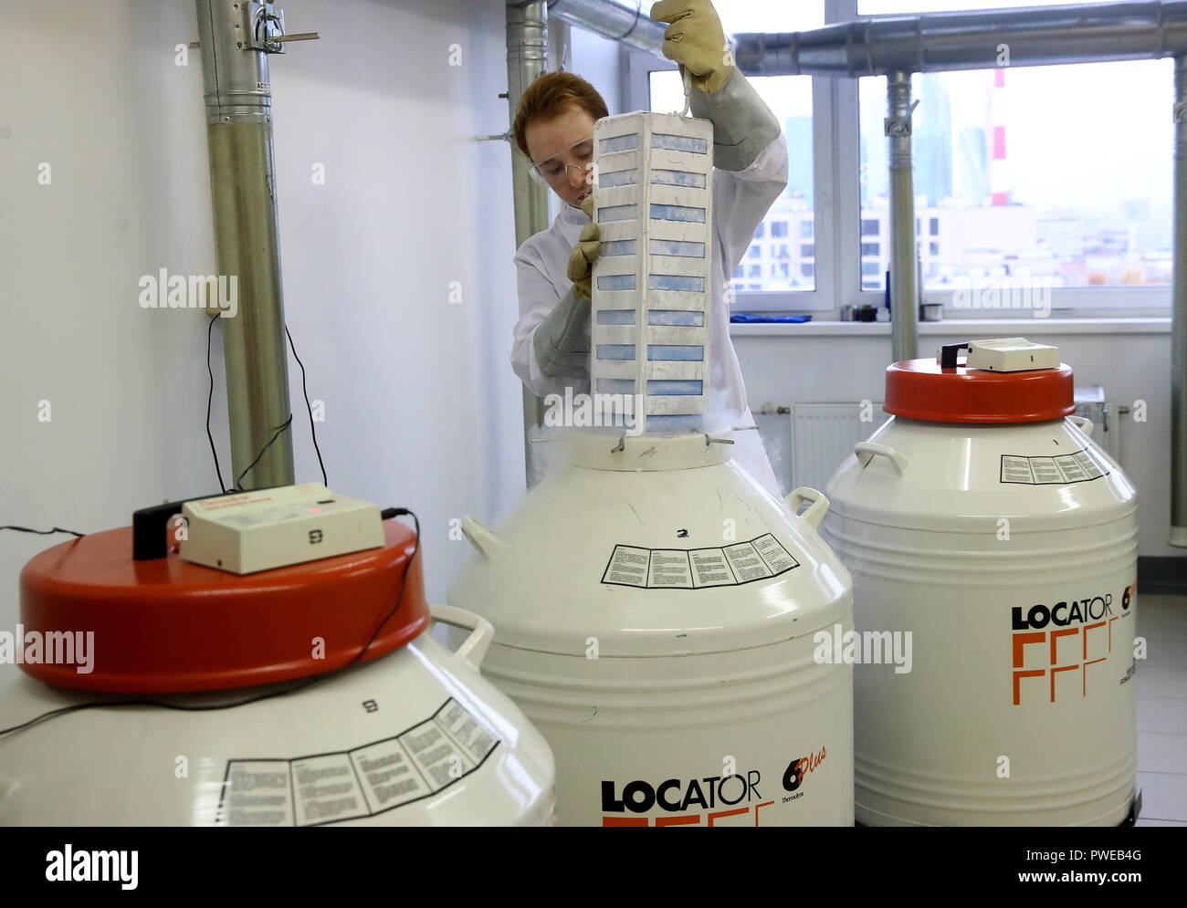 Moscow, Russia. 10th Oct, 2018. MOSCOW, RUSSIA - OCTOBER 10, 2018: A cryogenic tank at the Science and Technology Park for Biomedicine at Sechenov First Moscow State Medical University (MSMU); in 2018, the university turns 260. Valery Sharifulin/TASS Credit: ITAR-TASS News Agency/Alamy Live News Stock Photo