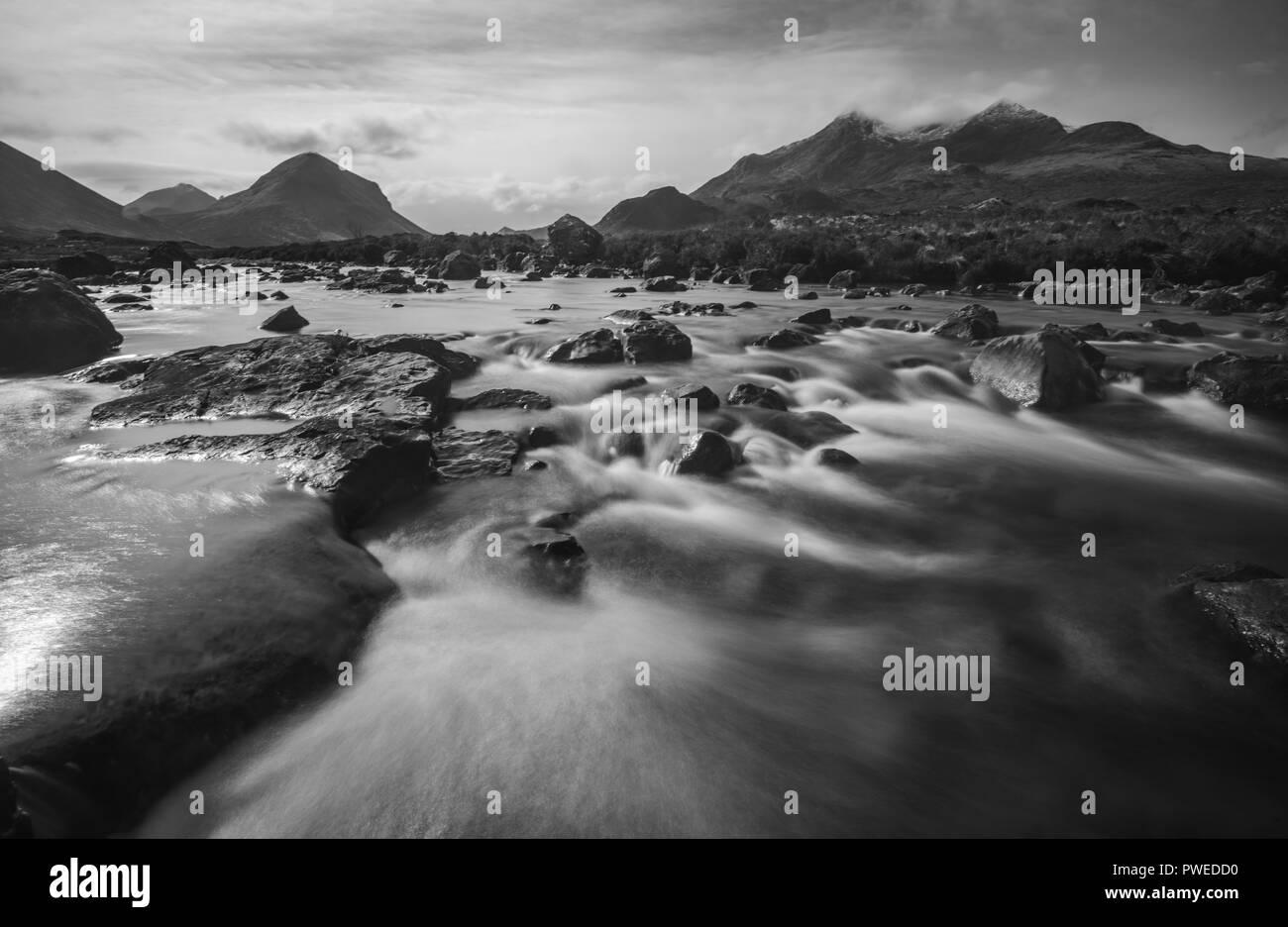Black and White, Long exposure of the Cascades, Sliglachan, Black Cuillin Mountain Range, Scotland, Uk - Stock Image