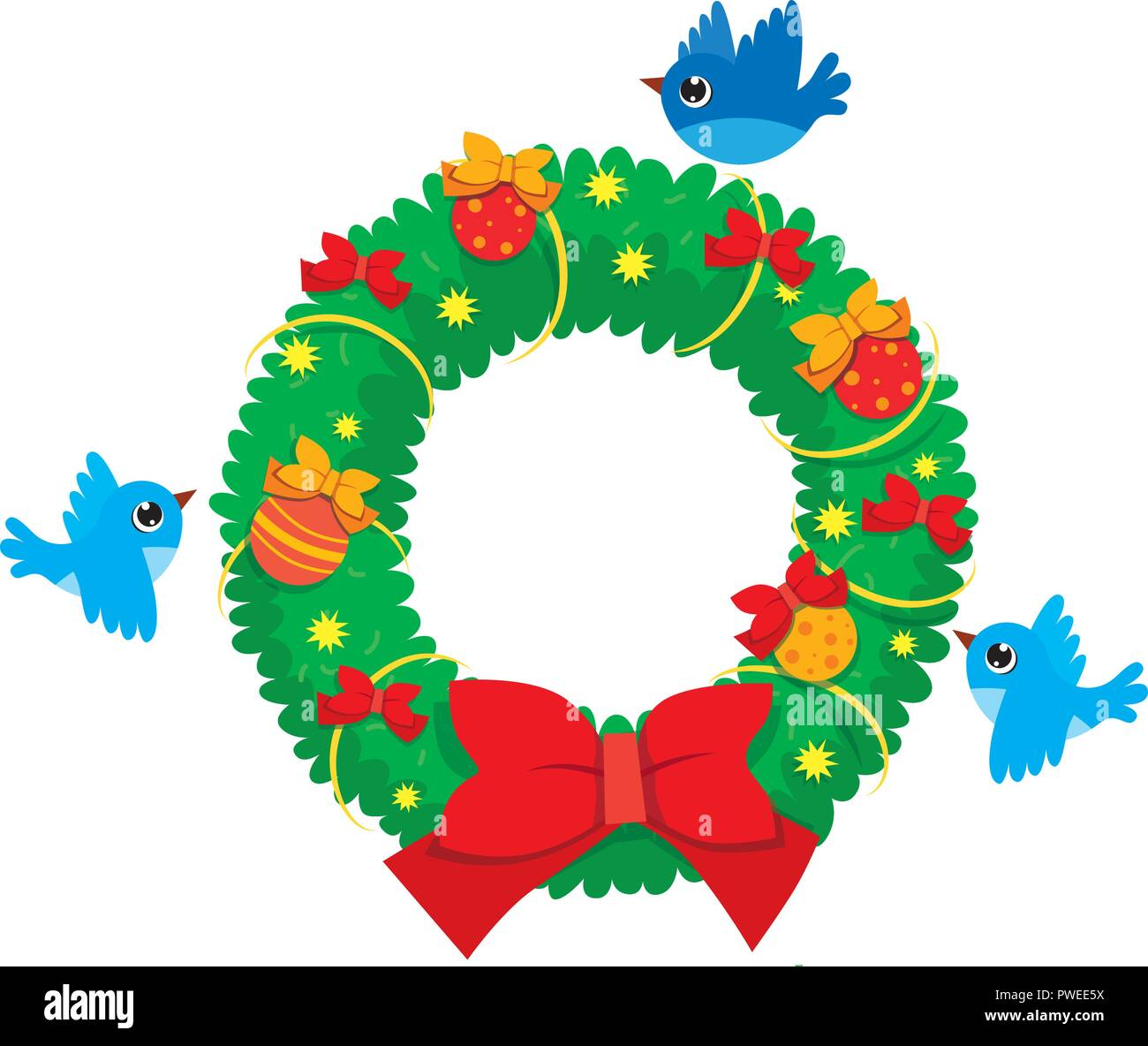 Vector Christmas Wreath Of Realistic Cartoon Branches With Flying