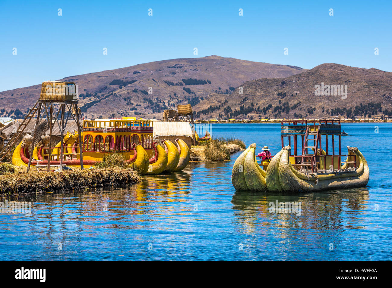 Uros floating islands of lake Titicaca, Peru, South America - Stock Image