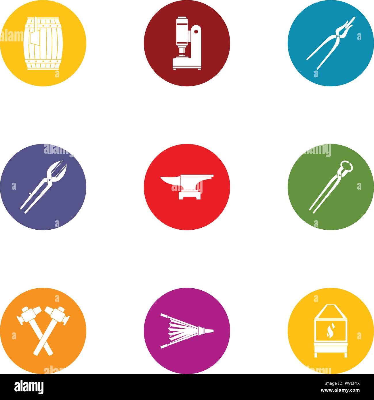 Ductile icons set, flat style - Stock Image