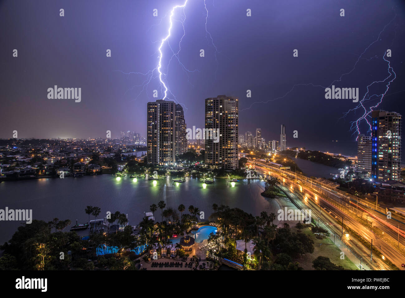 Lightning Strike Surfers Paradise Queensland Stock Photo