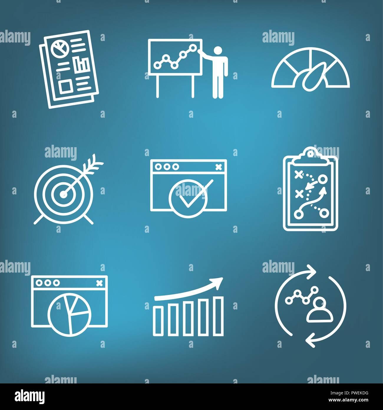 KPI - Key Performance Indicators Icon set with Evaluation, Growth, & Strategy, etc - Stock Image
