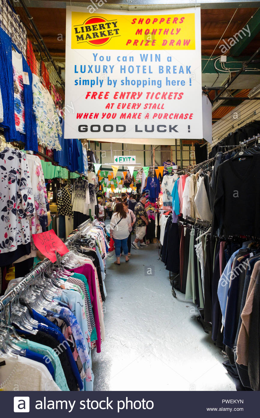 People shopping inside Liberty Market, Meath Street, The Liberties, Dublin, Leinster, Ireland Stock Photo