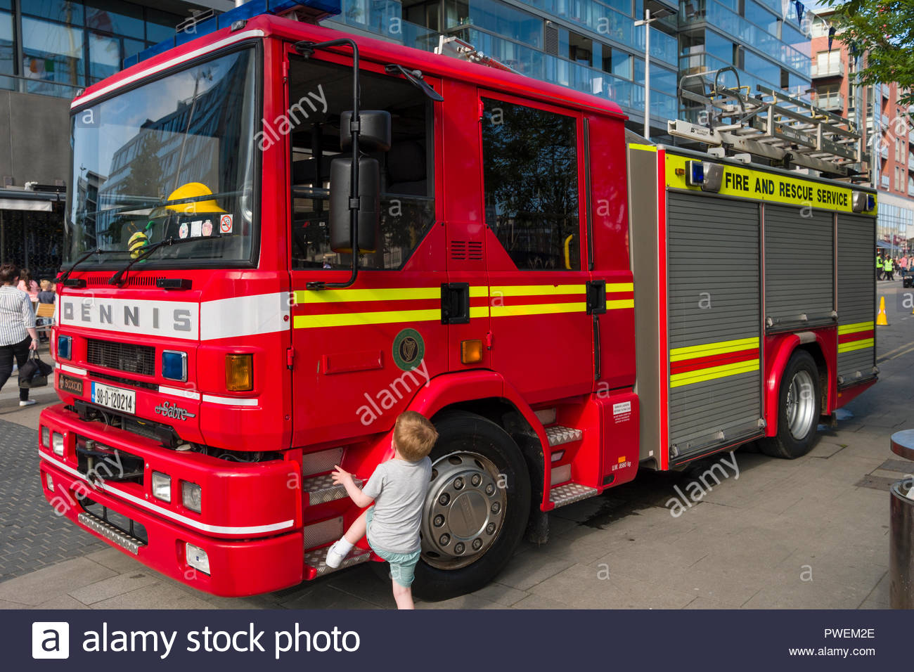 Dennis Saxon Sabre fire and rescue engine, Grand Canal Square, Docklands, Dublin, Leinster, Ireland - Stock Image