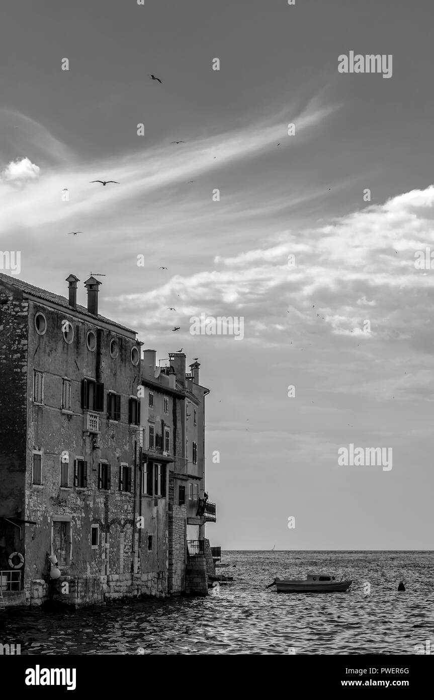 Rovinj is a city situated on the north Adriatic Sea located on the western coast of the Istrian peninsula, it is a popular tourist resort and an activ - Stock Image