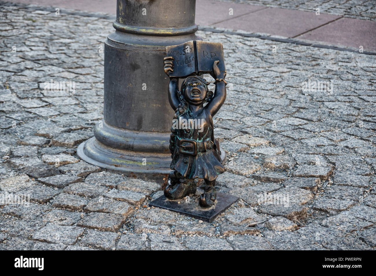 Gnomes Elfs small statues in Wroclaw, Poland Stock Photo