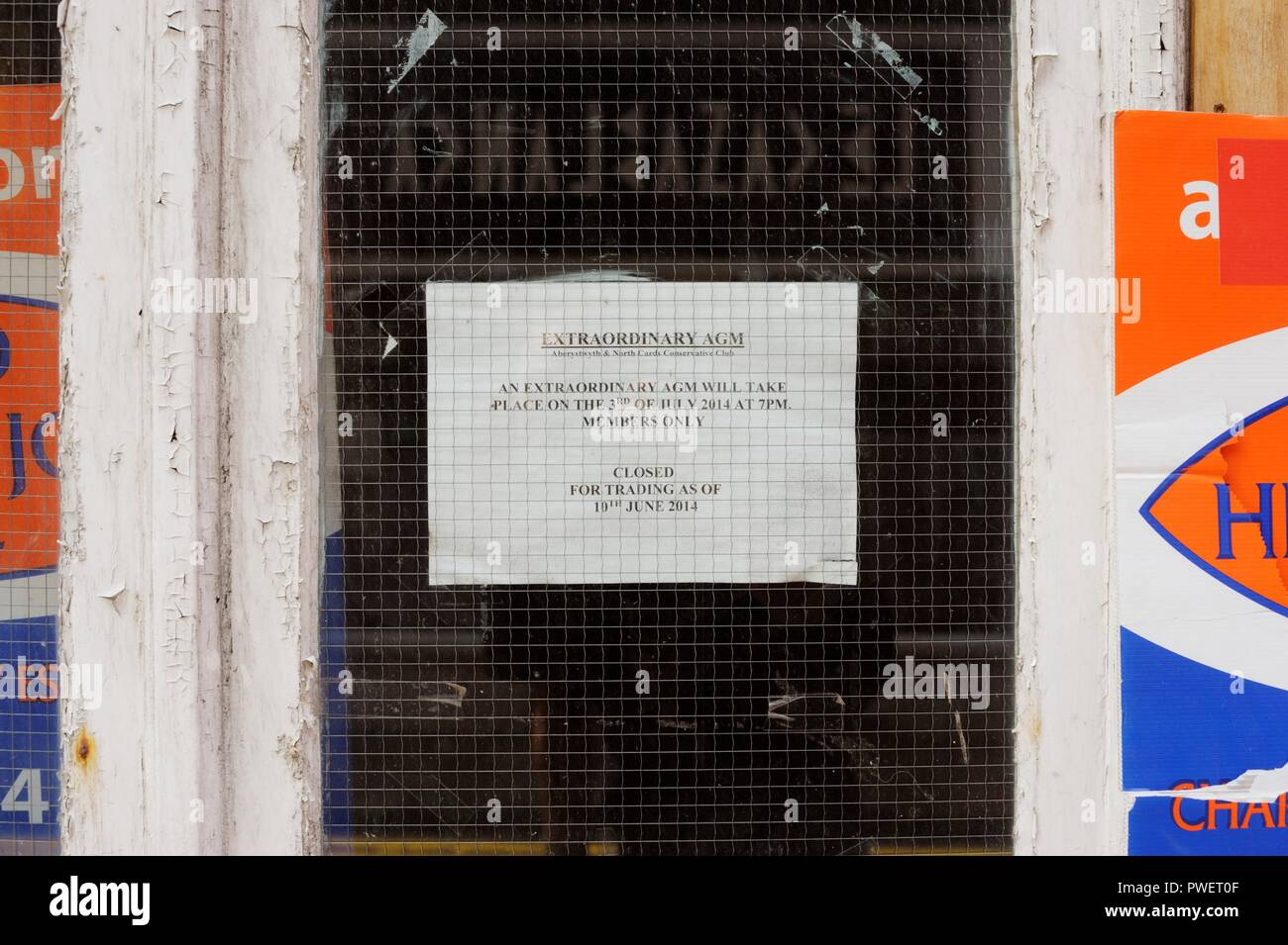 Notice of an Extraordinary AGM following the closure of Aberystwyth Conservative Club, Wales, UK. - Stock Image