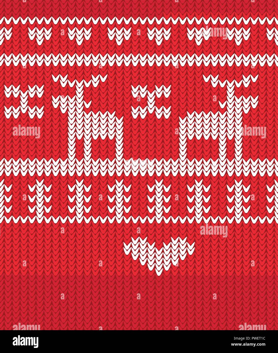 Seamless Knitted Christmas Pattern , vector eps 10 - Stock Vector