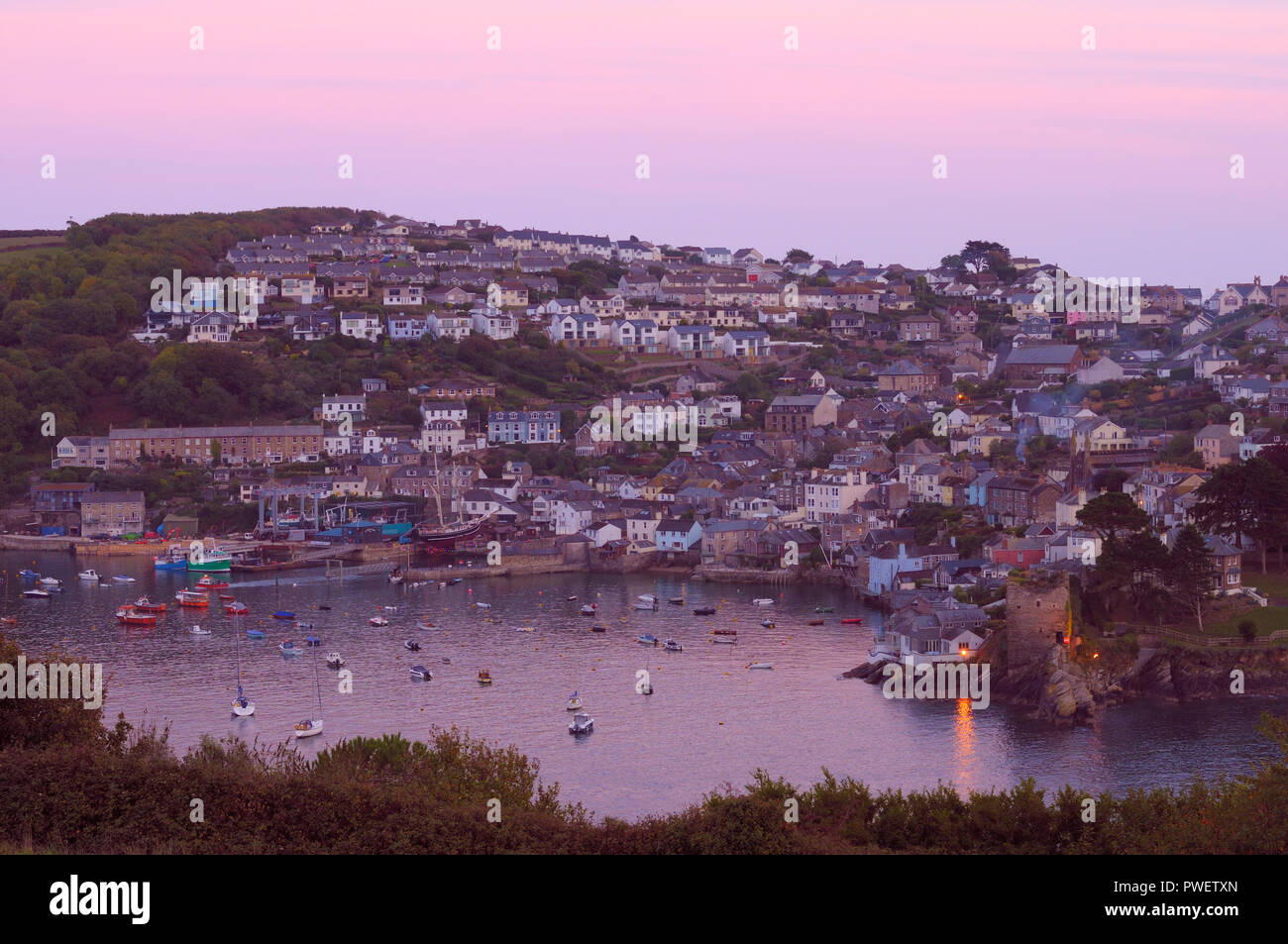 The charming Cornish fishing village of Polruan viewed from across the river in Fowey, Cornwall, England, UK Stock Photo