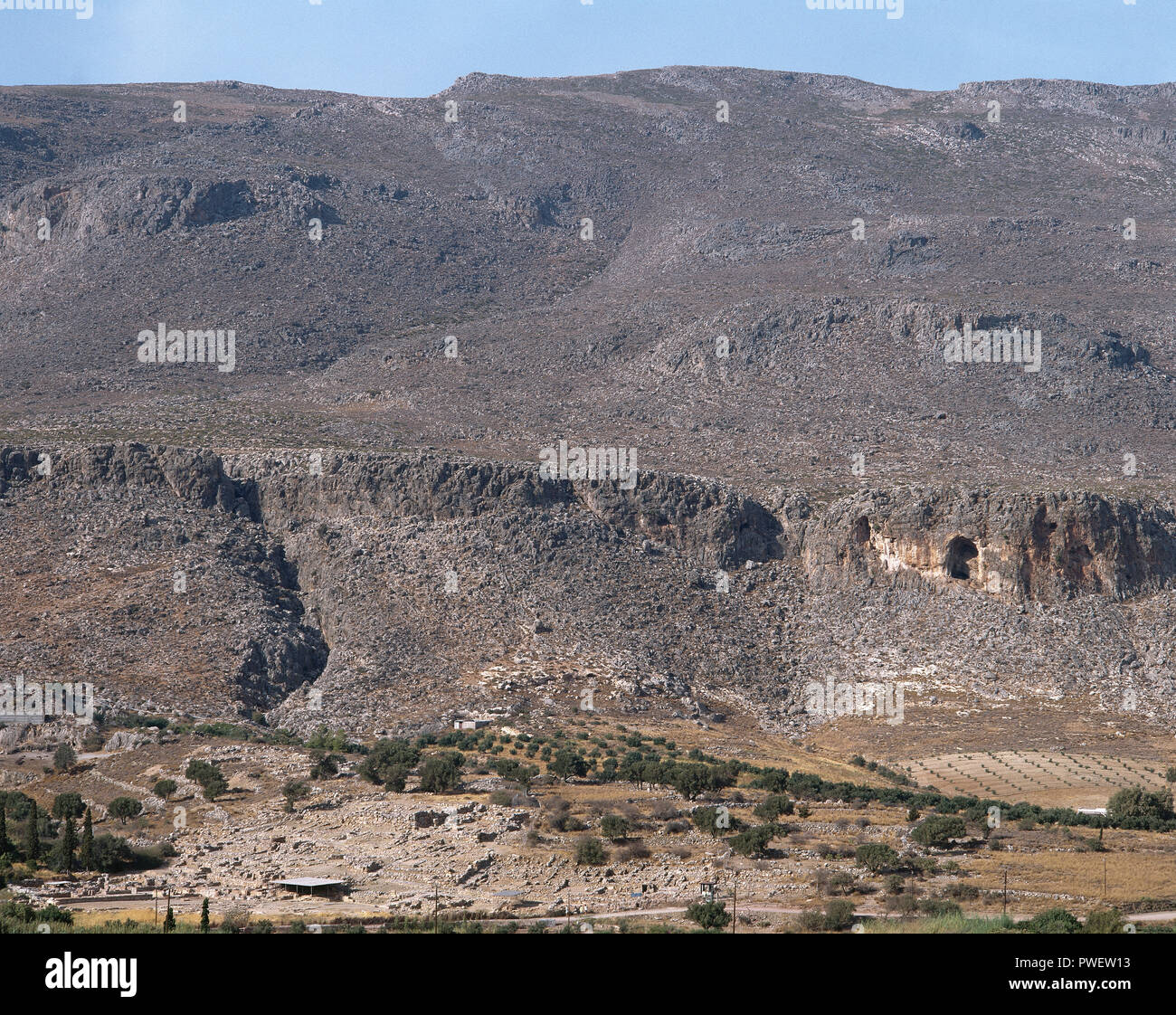 Greece. Kato Zakro. Panoramic view of the Minoan archaeological site. 17th century BC. Island of Crete. - Stock Image