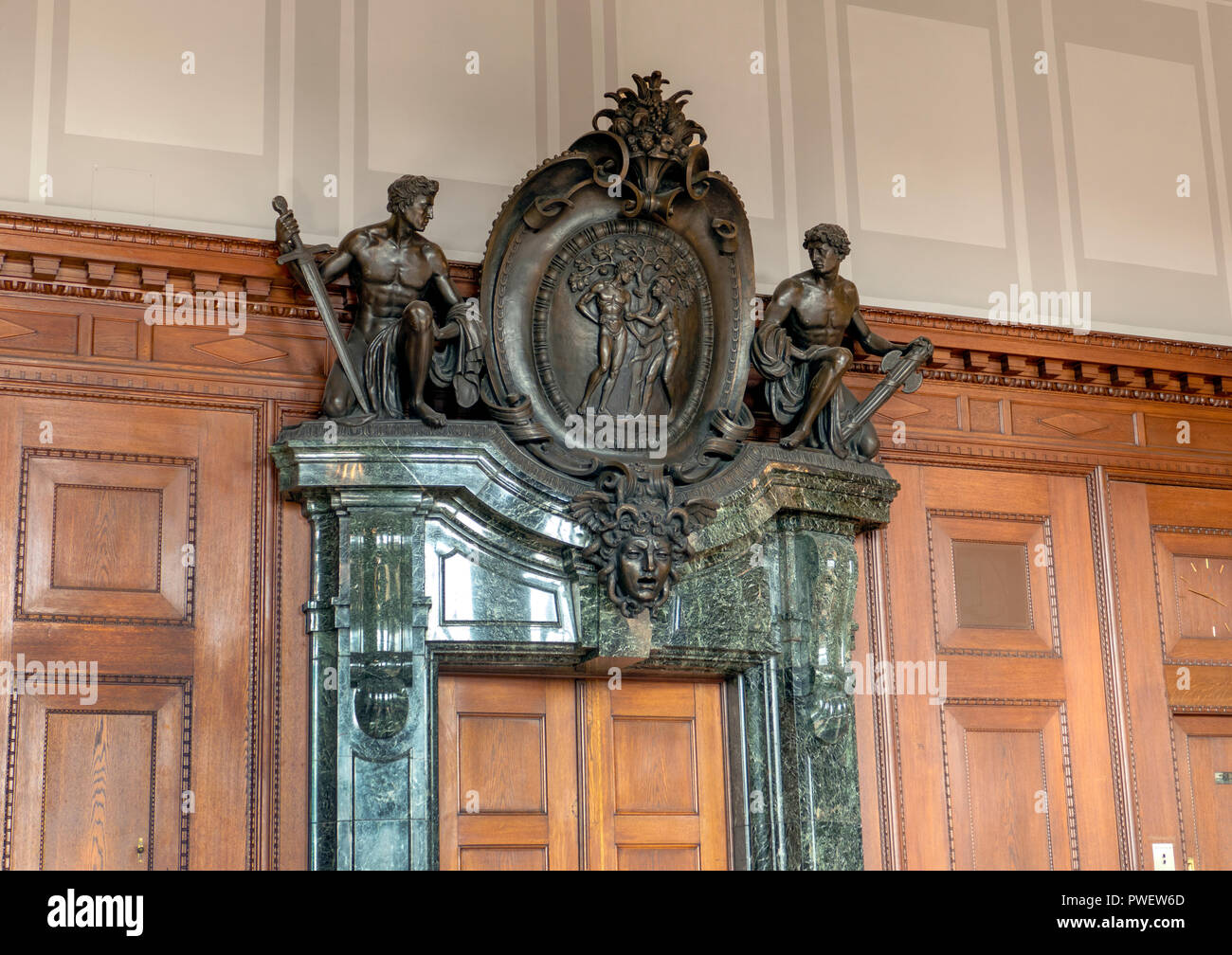 Entrance to courtroom 600 at the Palace of Justice in Nuremberg, Germany. Location of the Nuremberg trials of Nazi war criminals 1945. - Stock Image