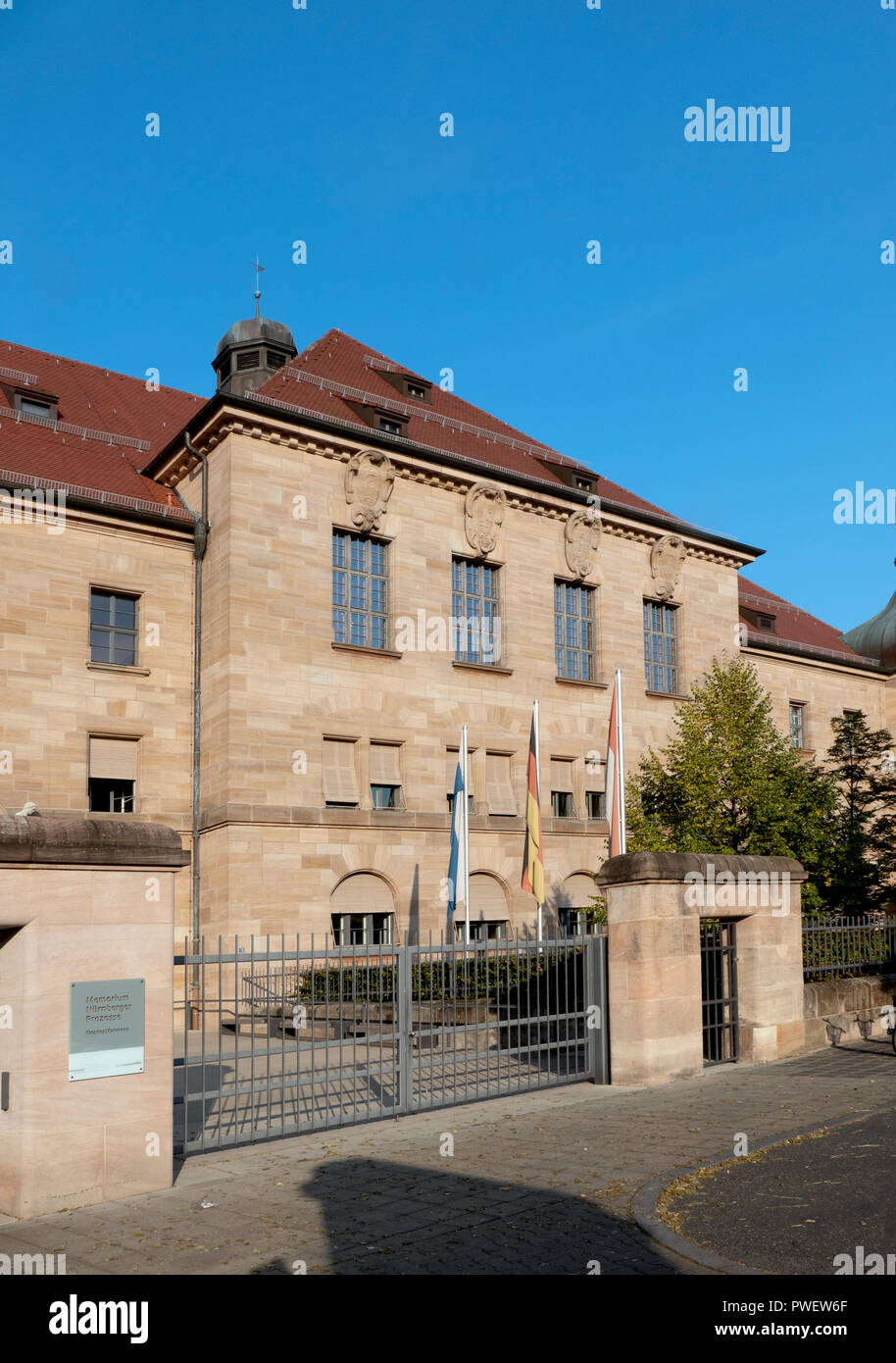 Courtroom 600 at the Palace of Justice in Nuremberg, Germany. Location of the Nuremberg trials of Nazi war criminals including Rudolf Hess. Stock Photo