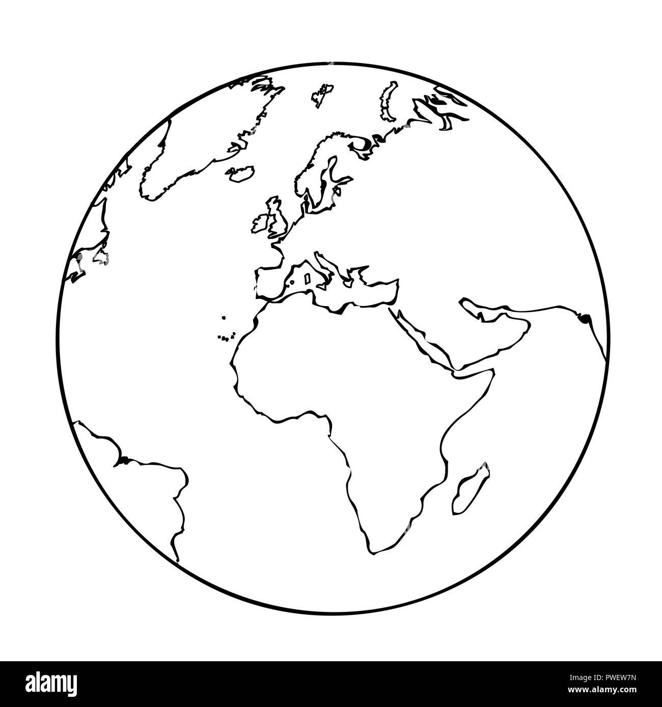 earth globe simple icon pictogram outline vector illustration - Stock Image