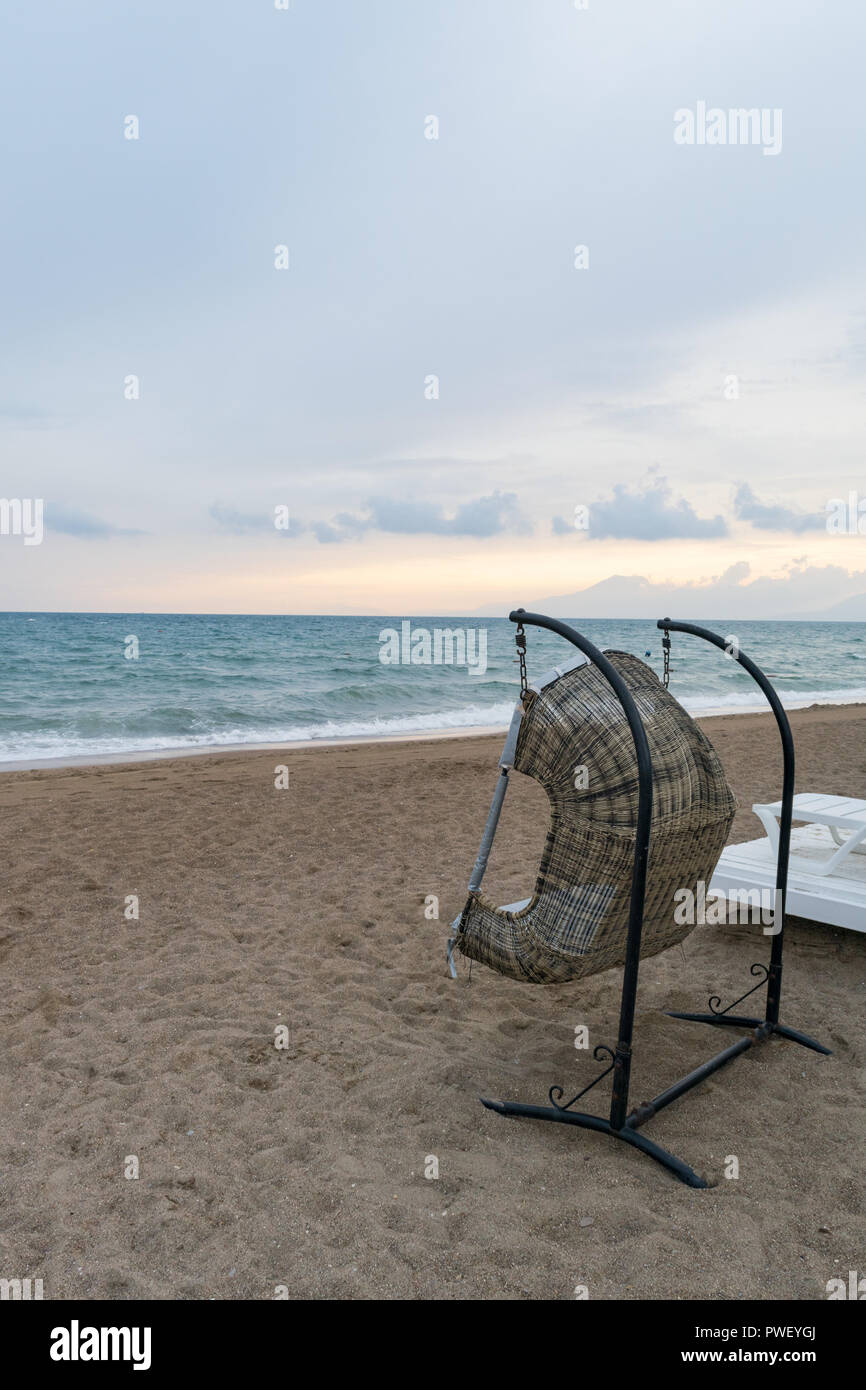 Cool Rattan Lounge Hanging Chair With White Pillow On Background Machost Co Dining Chair Design Ideas Machostcouk