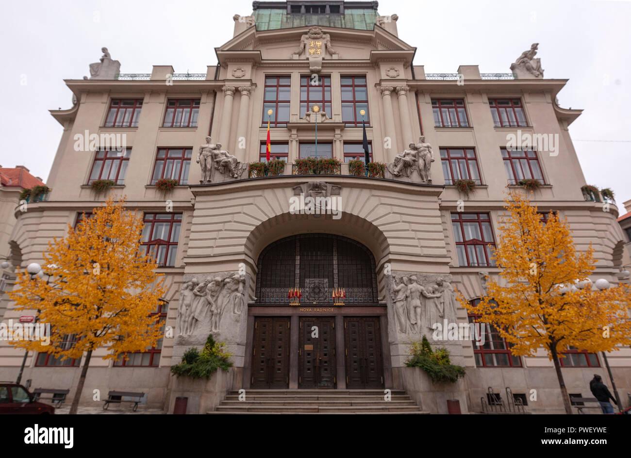 Art Nouveau Prague City Hall building, Prague, Czech Republic. - Stock Image