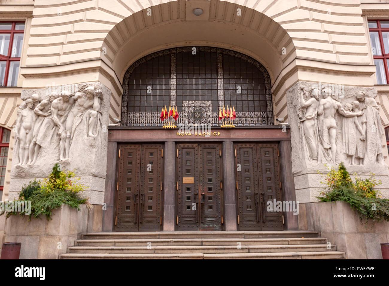 Entrance to the Art Nouveau Prague City Hall building, Prague, Czech Republic. - Stock Image